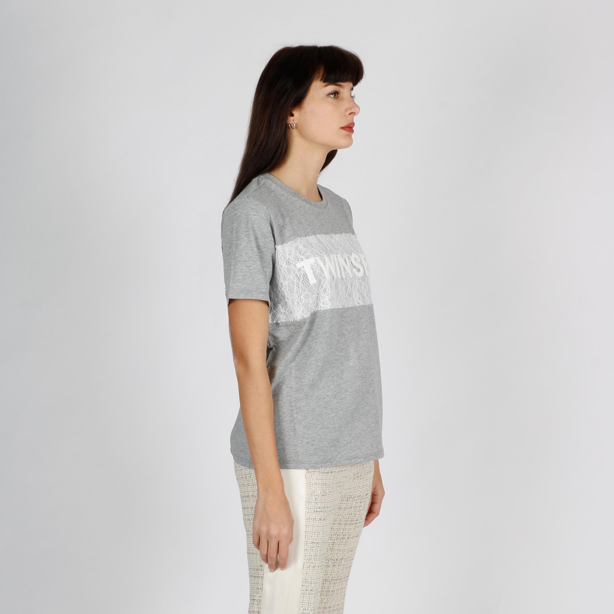 T-shirt logo pizzo - Grigio