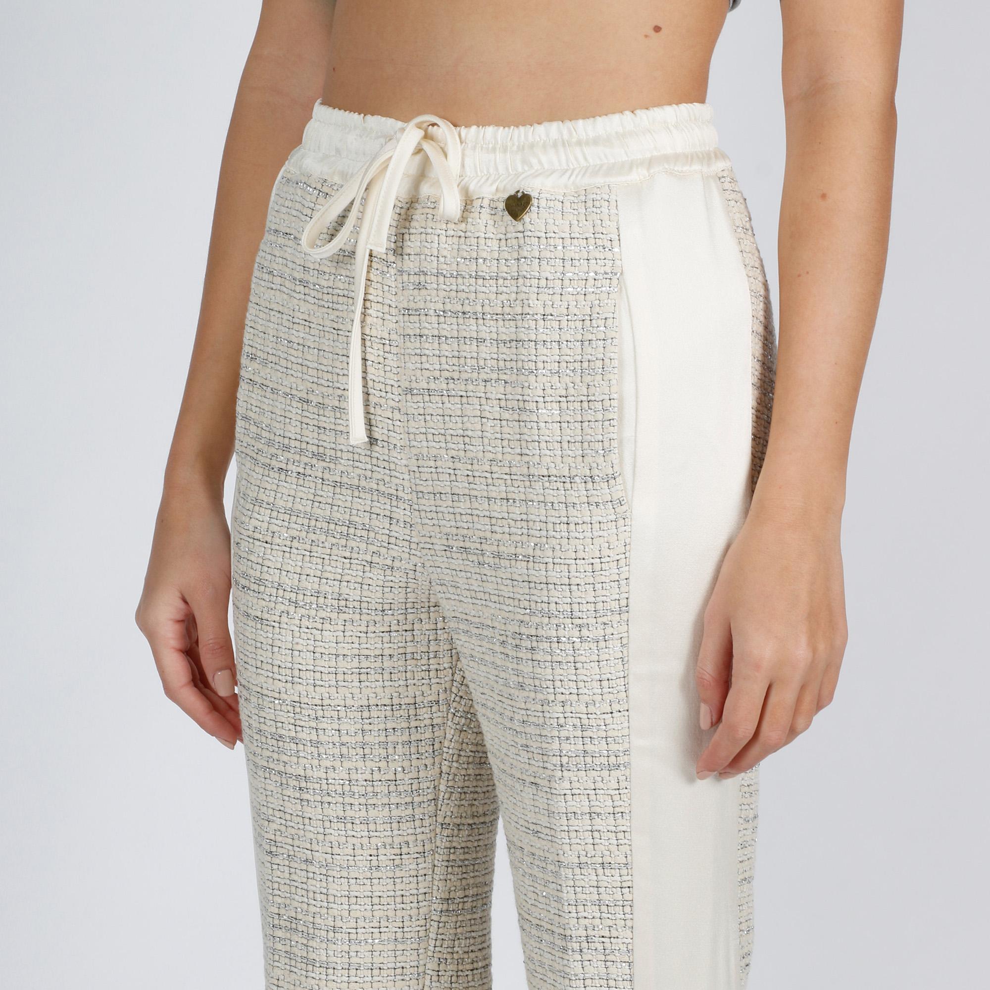 Pantalone tuta crop - Avorio/silver