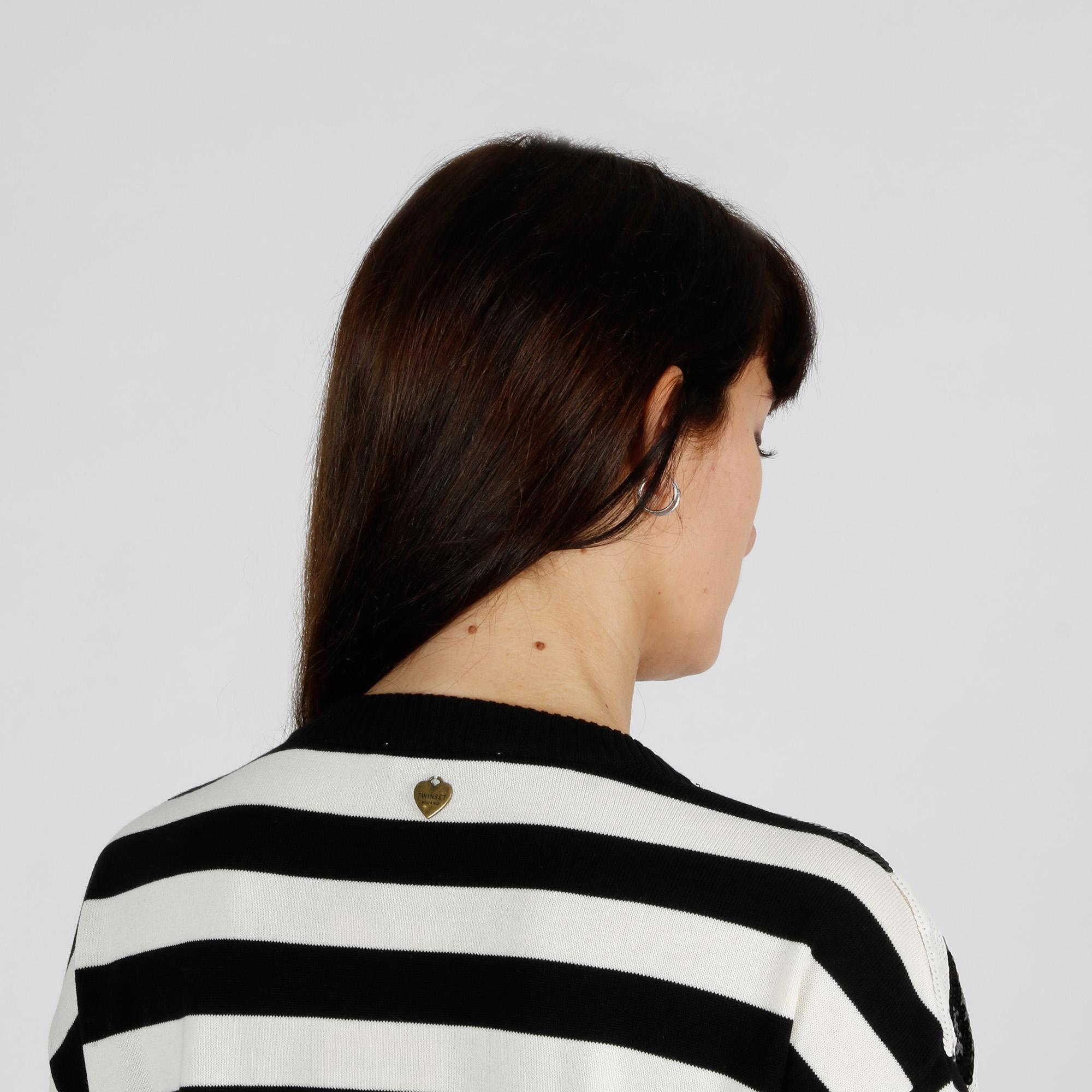 Maglia righe paillettes - Bianco/Nero