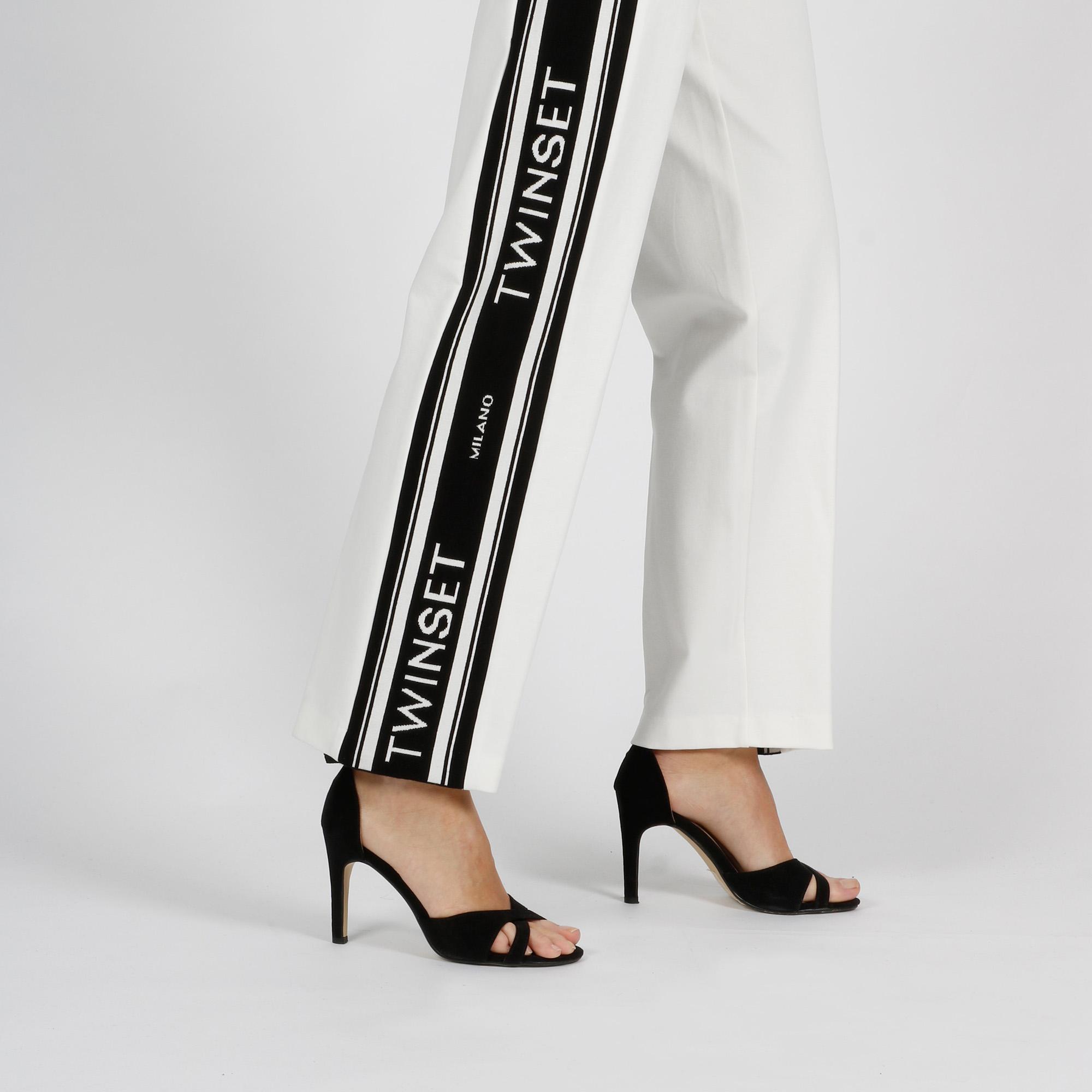 Pantalone tuta banda logo - Avorio