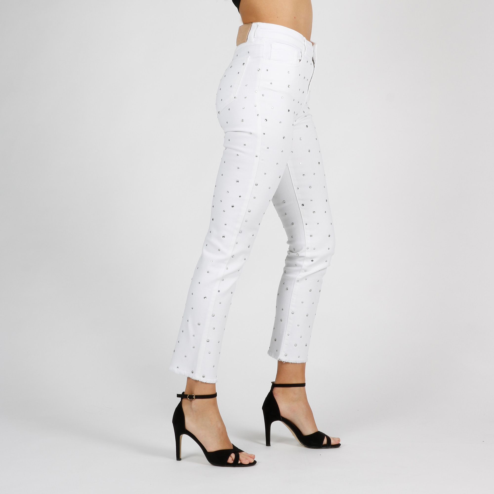 Jeans strass all-over - Bianco