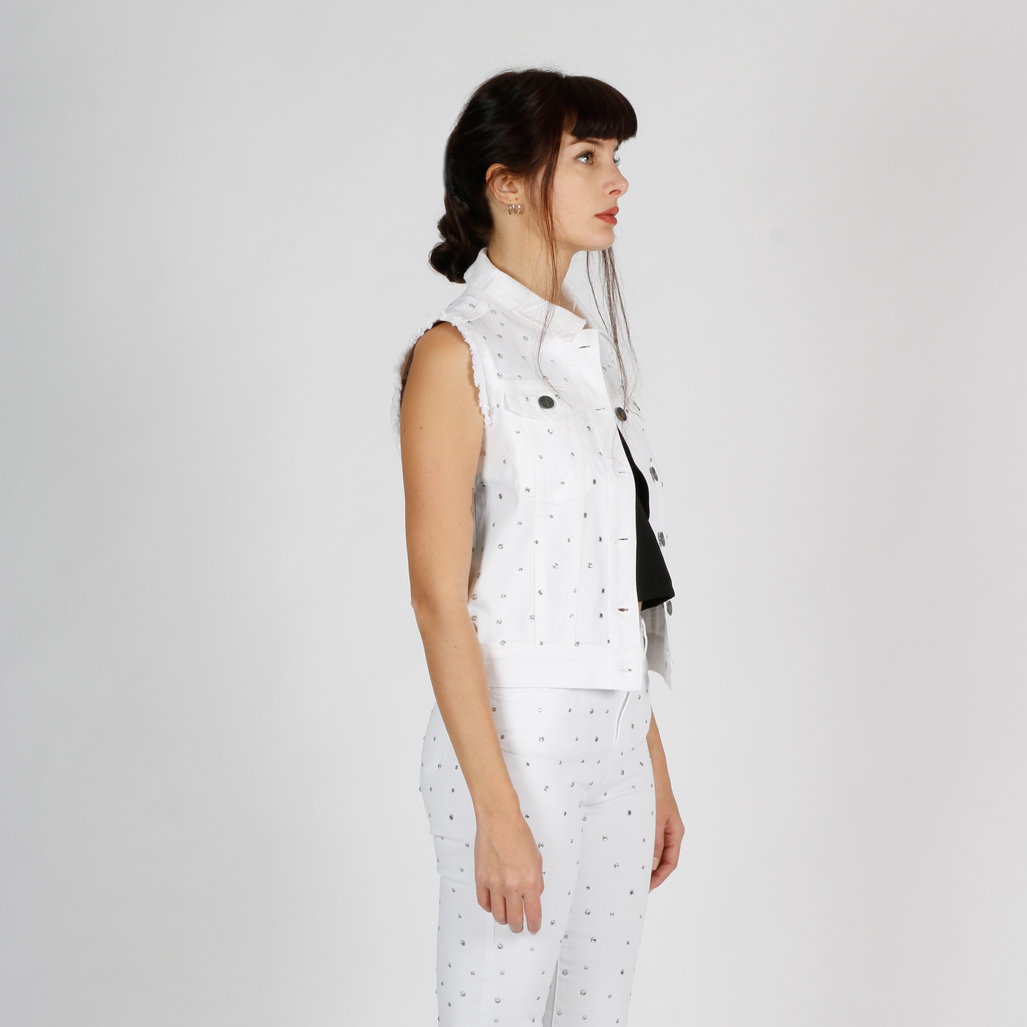 Gilet all over strass- Bianco