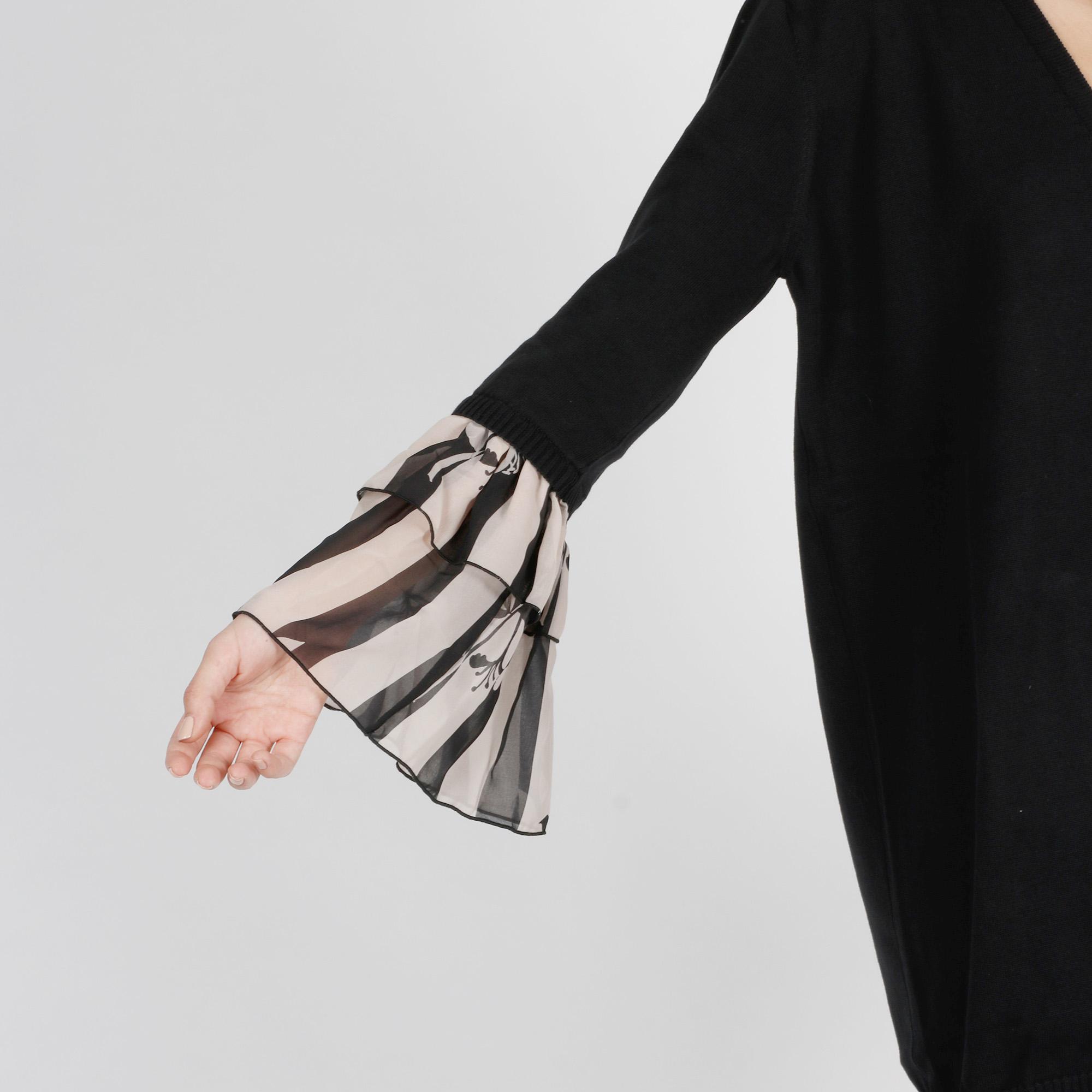 Maxi cardigan manica chiffon - Nero