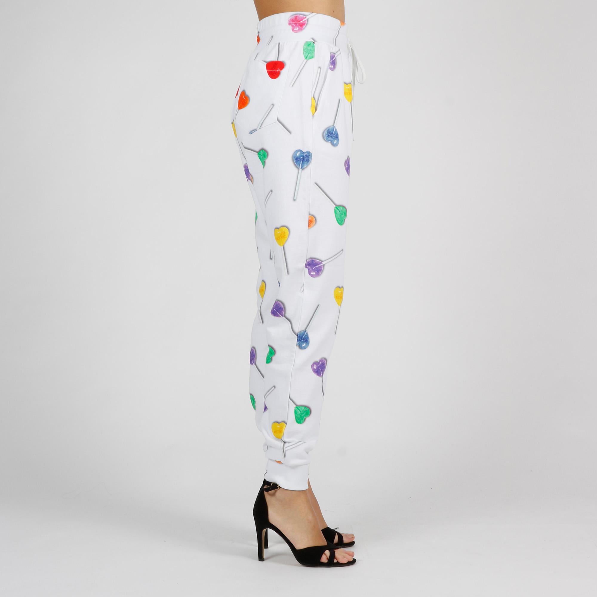 Pantalone felpa stampa lollipop - Bianco