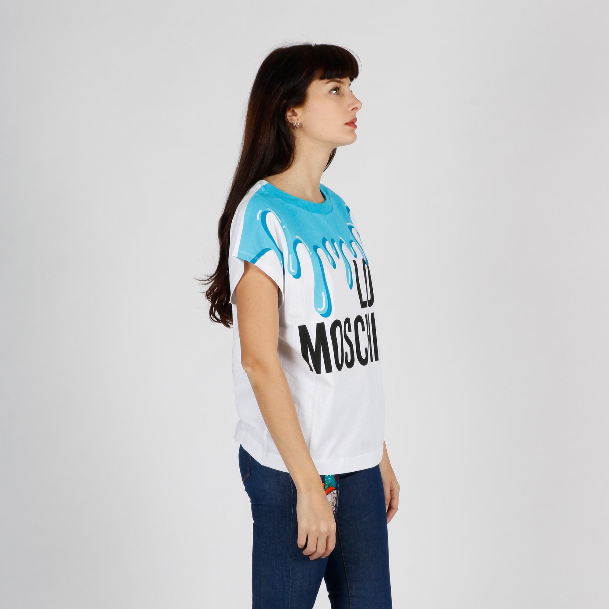 Maglia stampa colata di colore - Bianco/ Azzurro