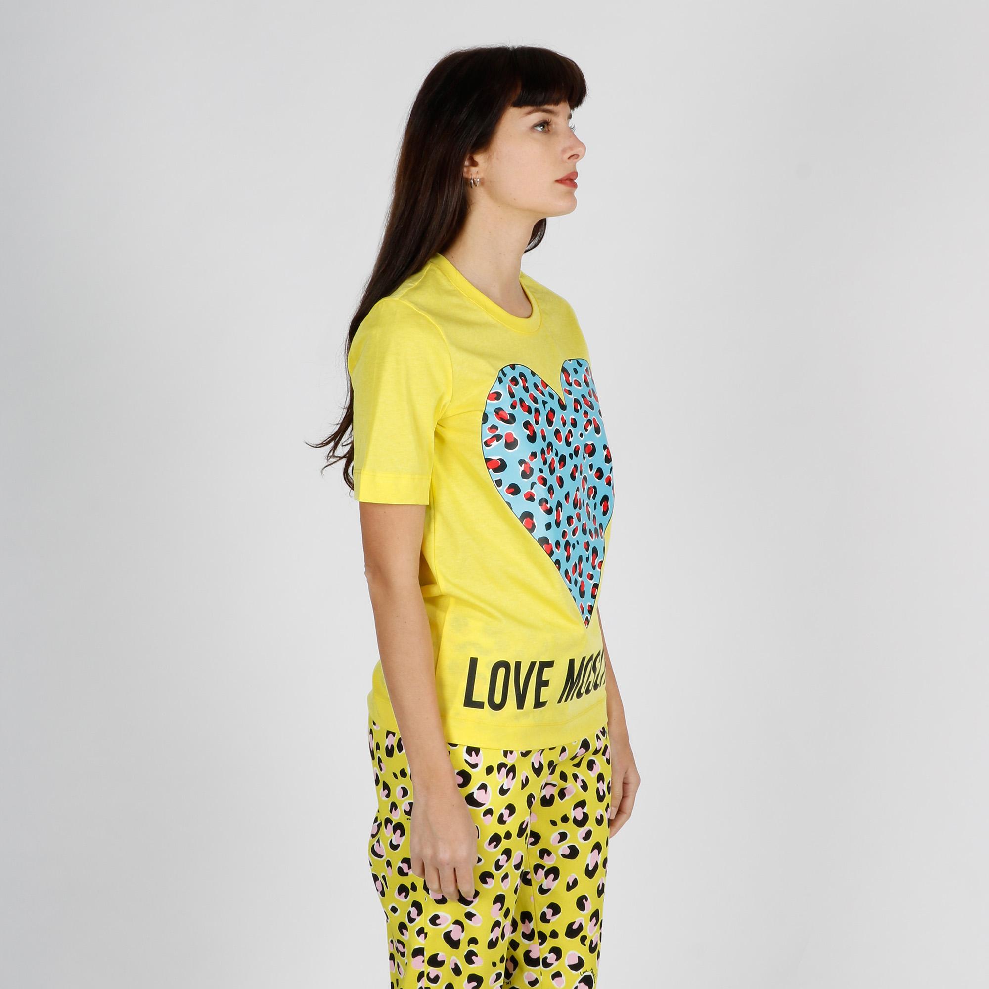 Maglia m/c logo cuore leopard