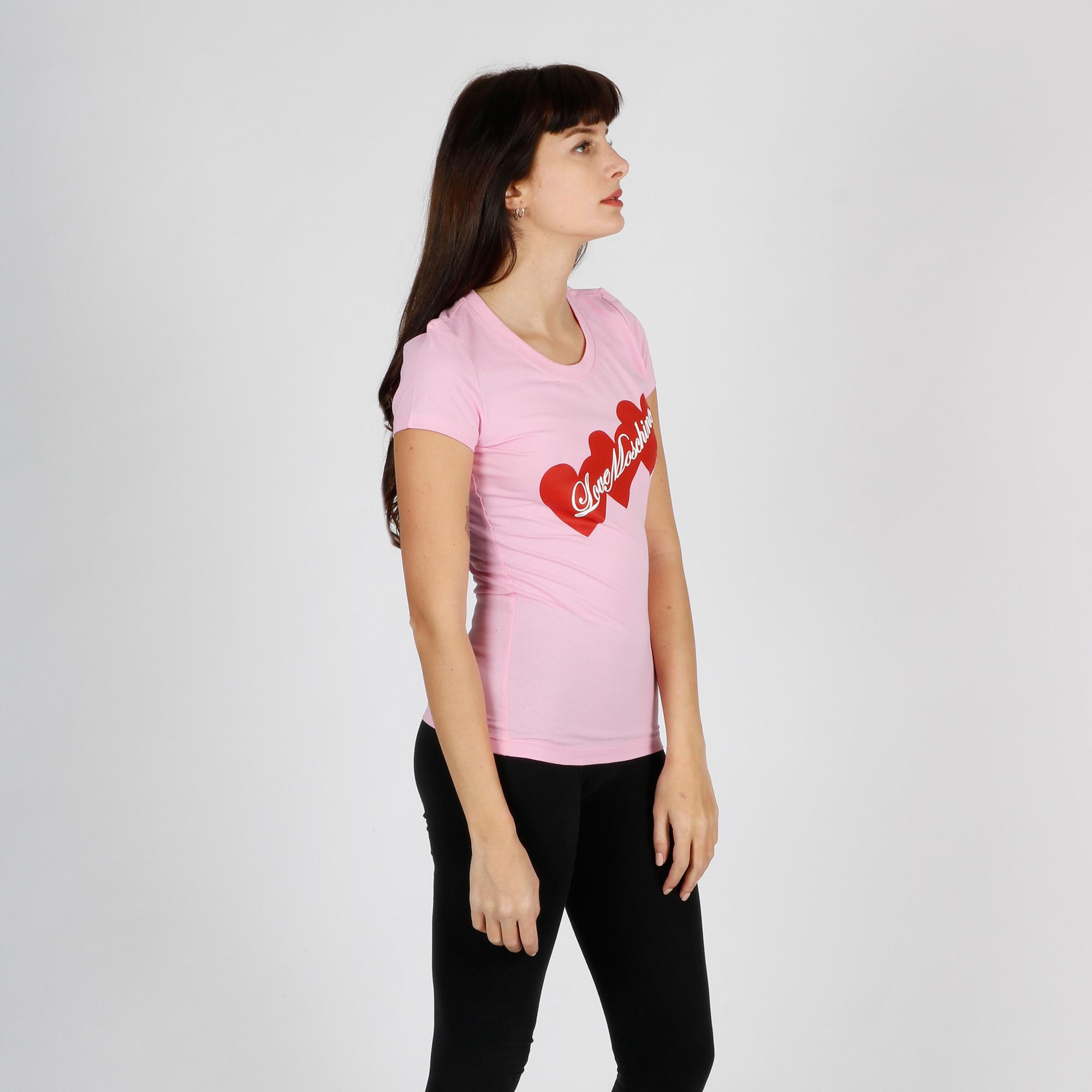 T-shirt tris di cuori - Rosa