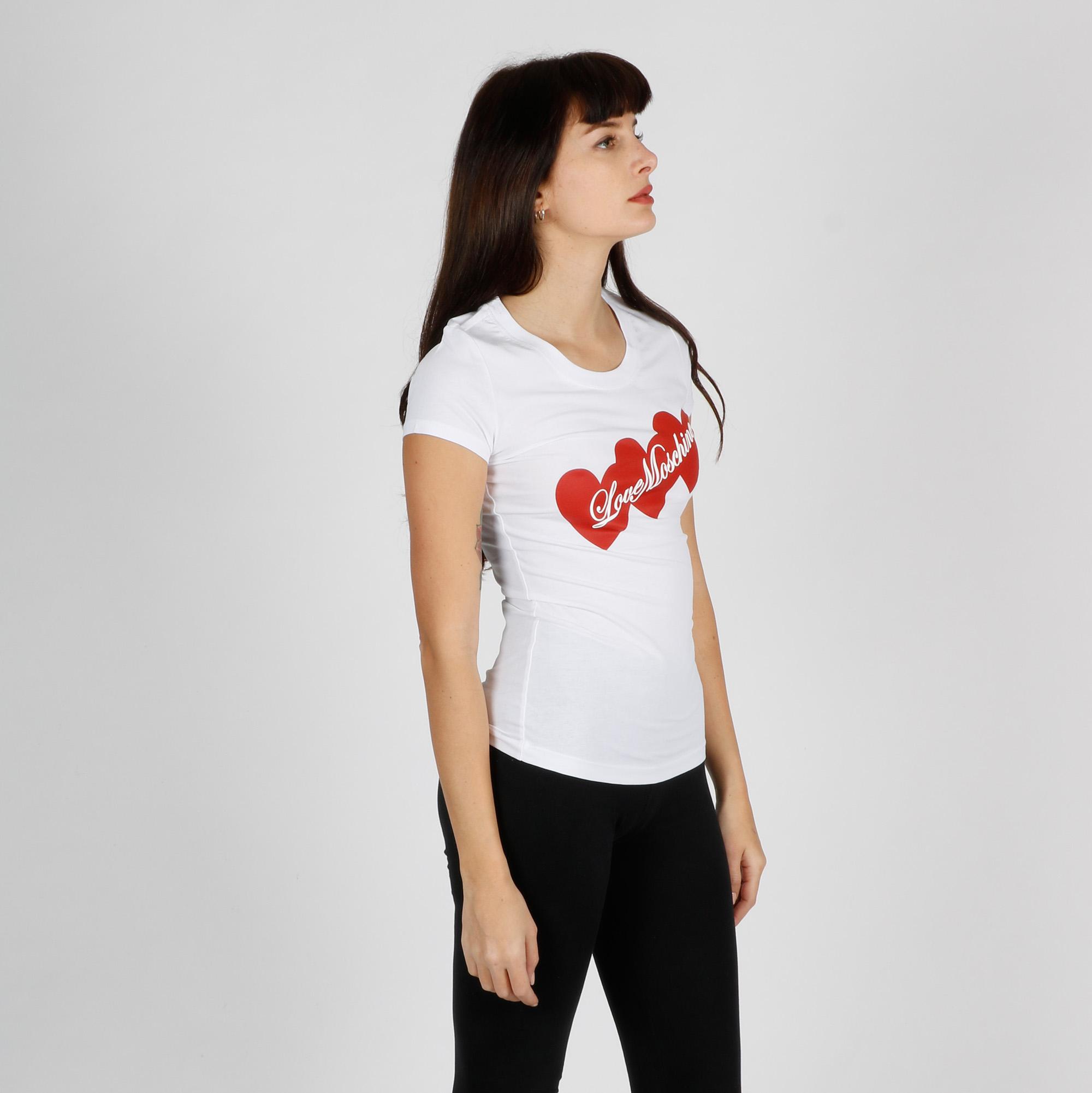 T-shirt tris di cuori - Bianco