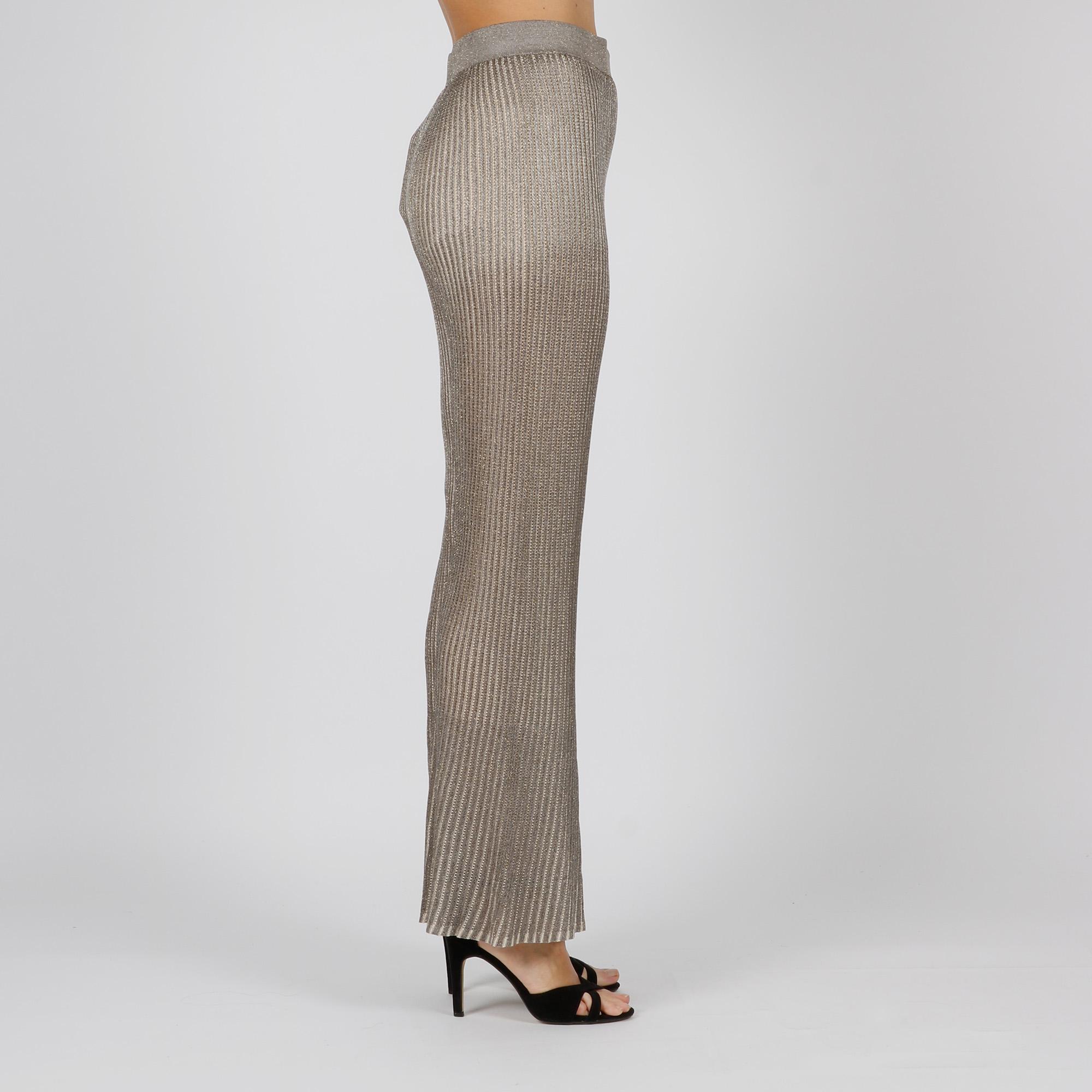 Pantalone maglia plissé - Argento