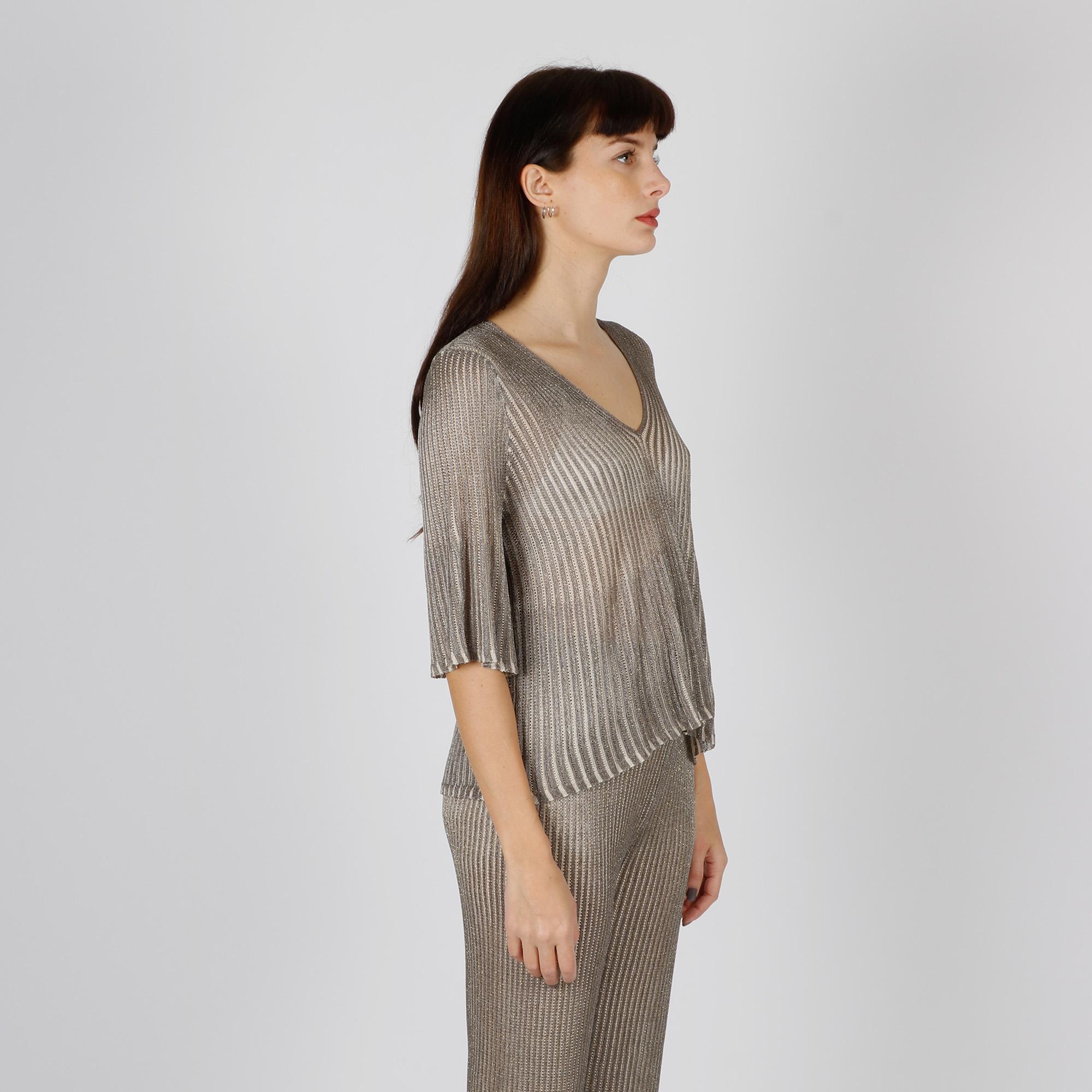 Maglia plisse trasparente - Argento
