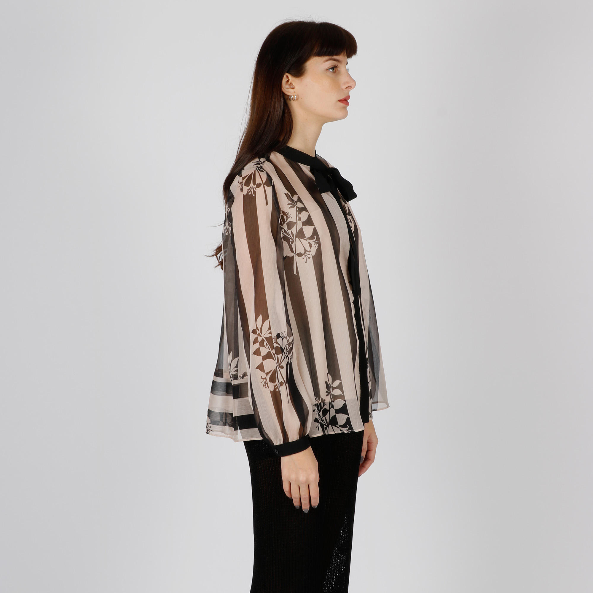 Camicia riga e fiori - Nero
