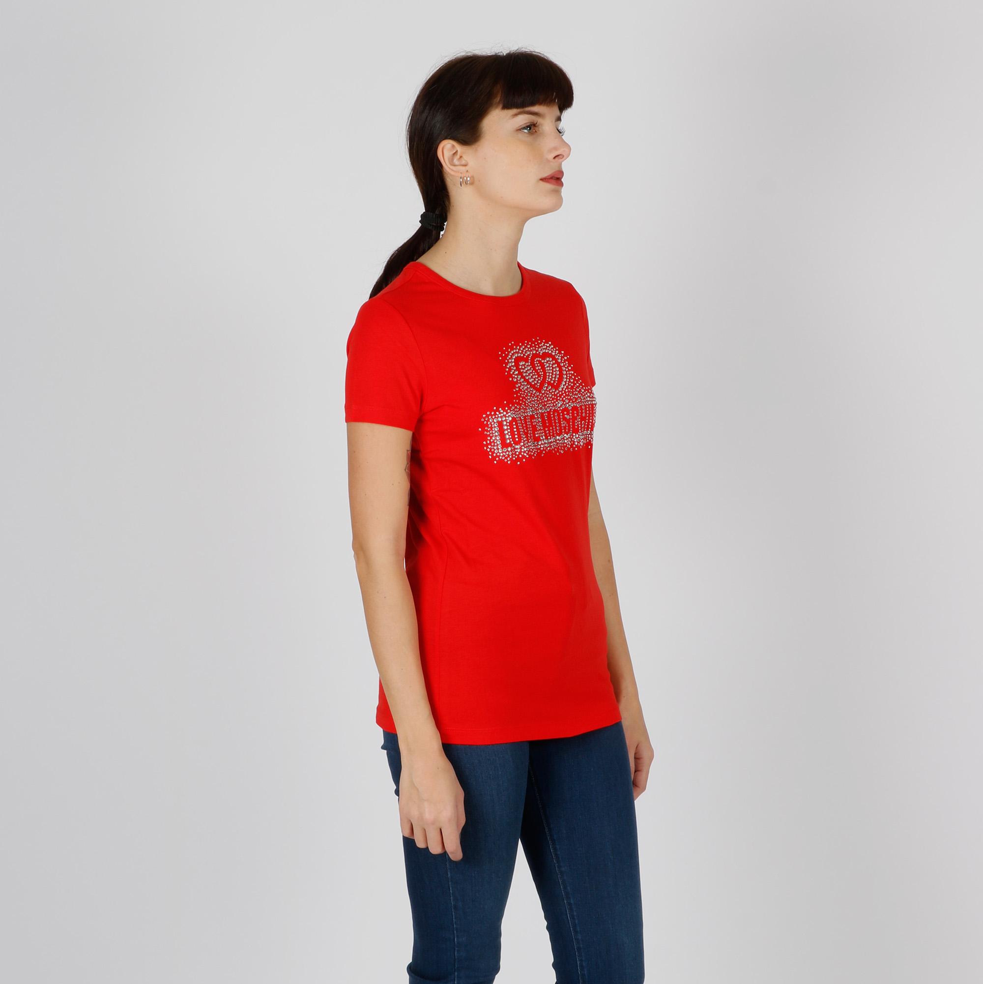 Maglia  logo cuore strass - Rosso