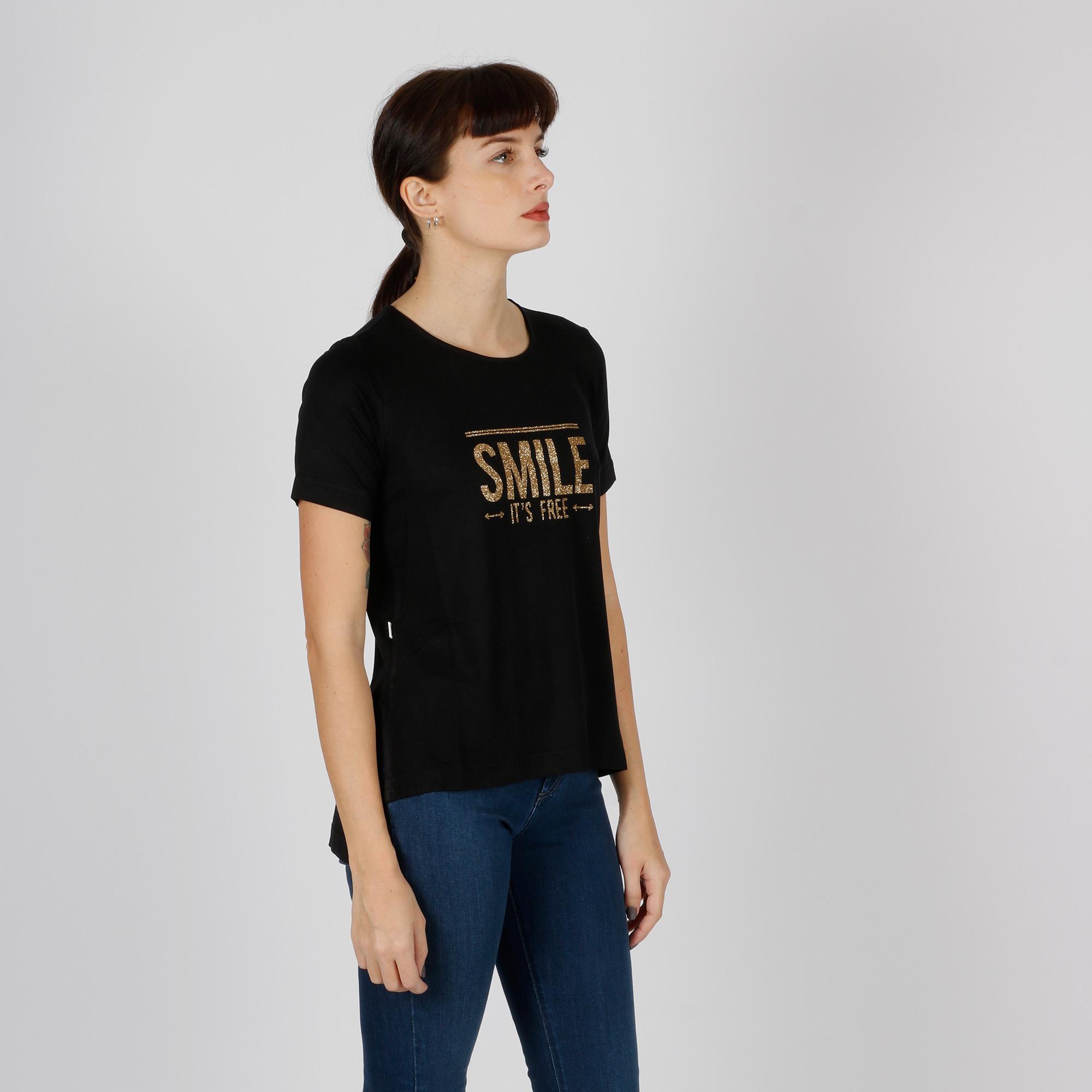 T-shirt smile oro - Nero