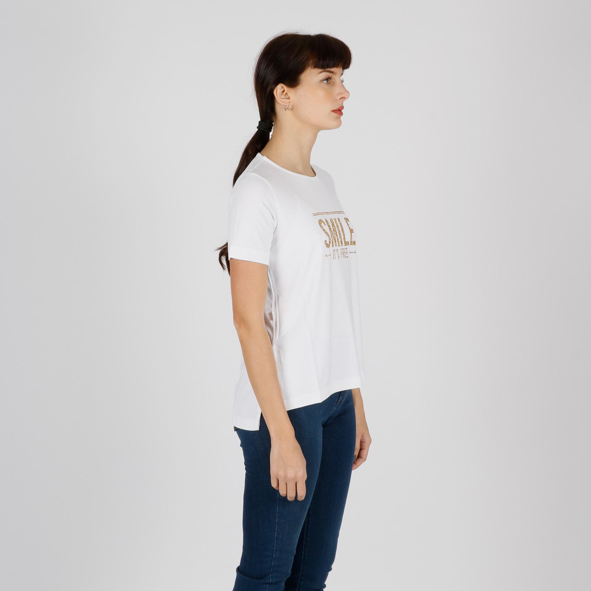 T-shirt smile oro - Bianco