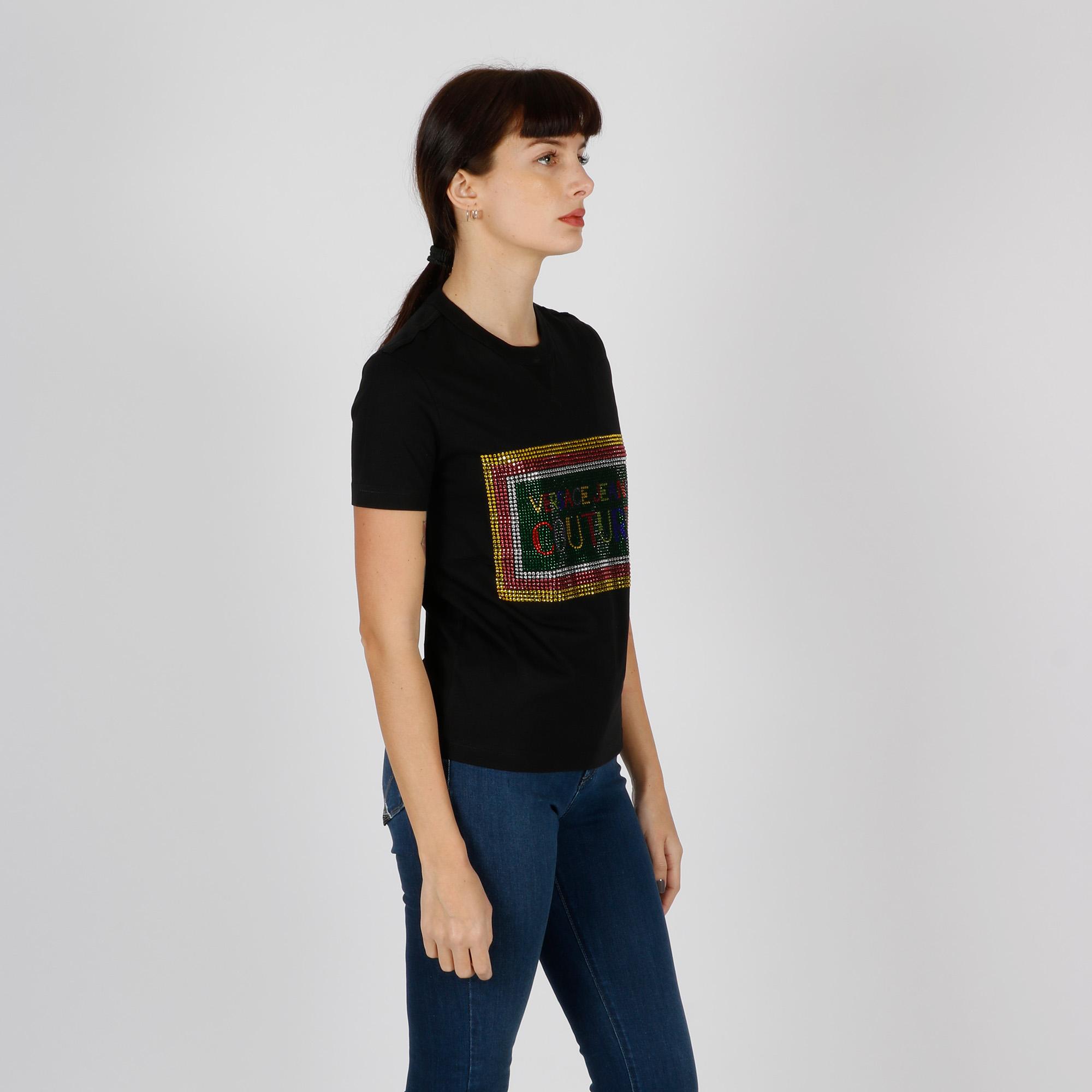 T-shirt logo e strass - Nero