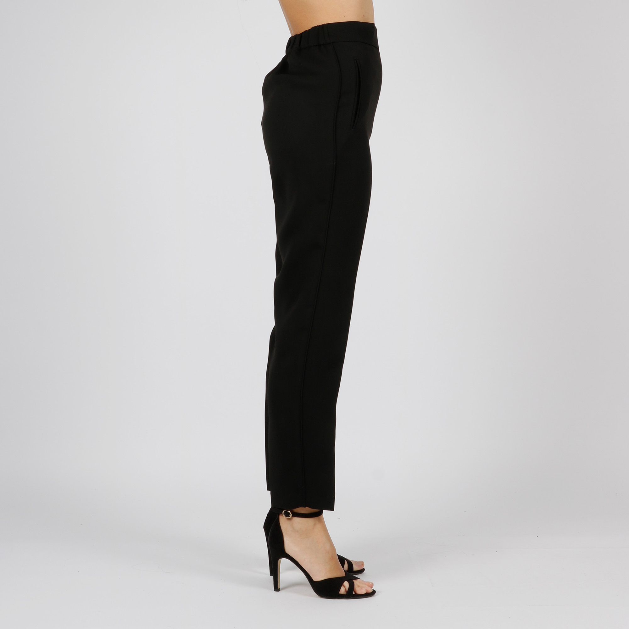 Pantalone morbido in georgette - Nero