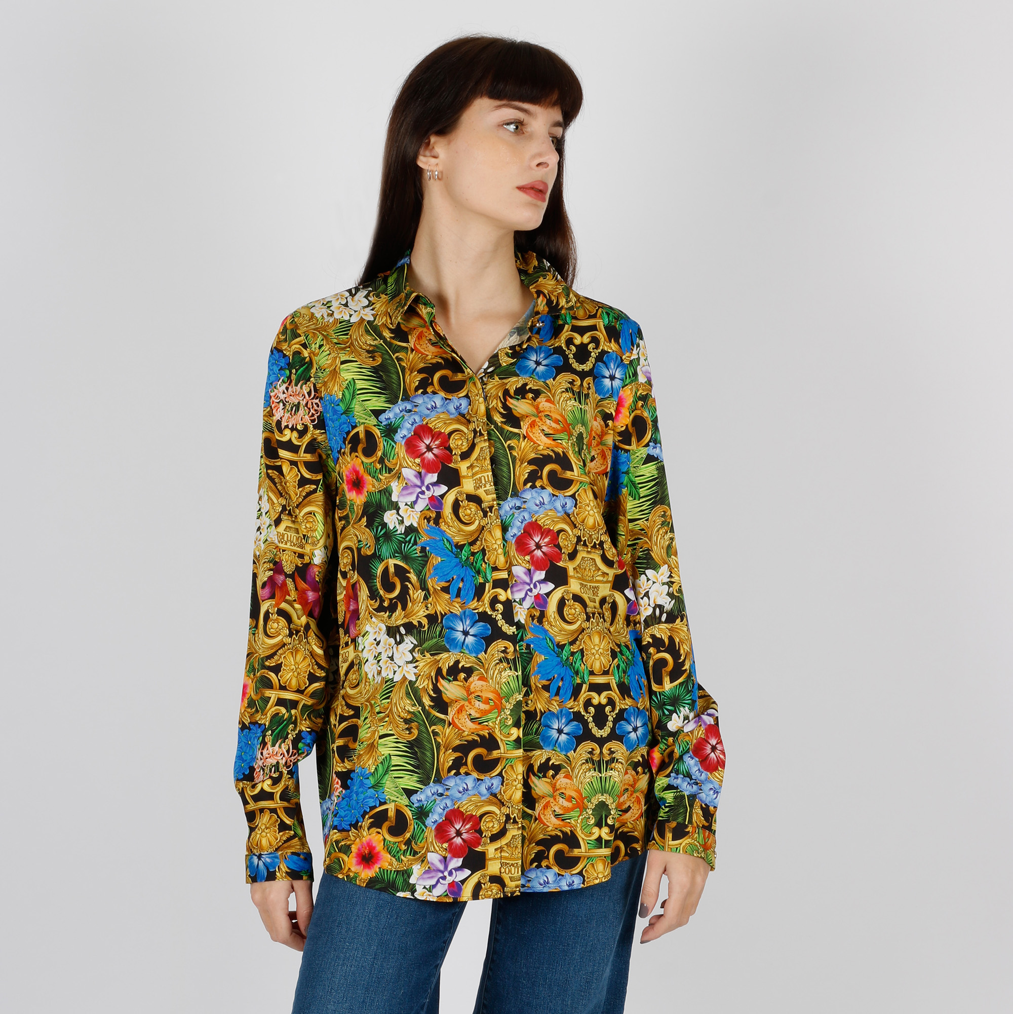 Camicia fantasia tropical baroque - Nero