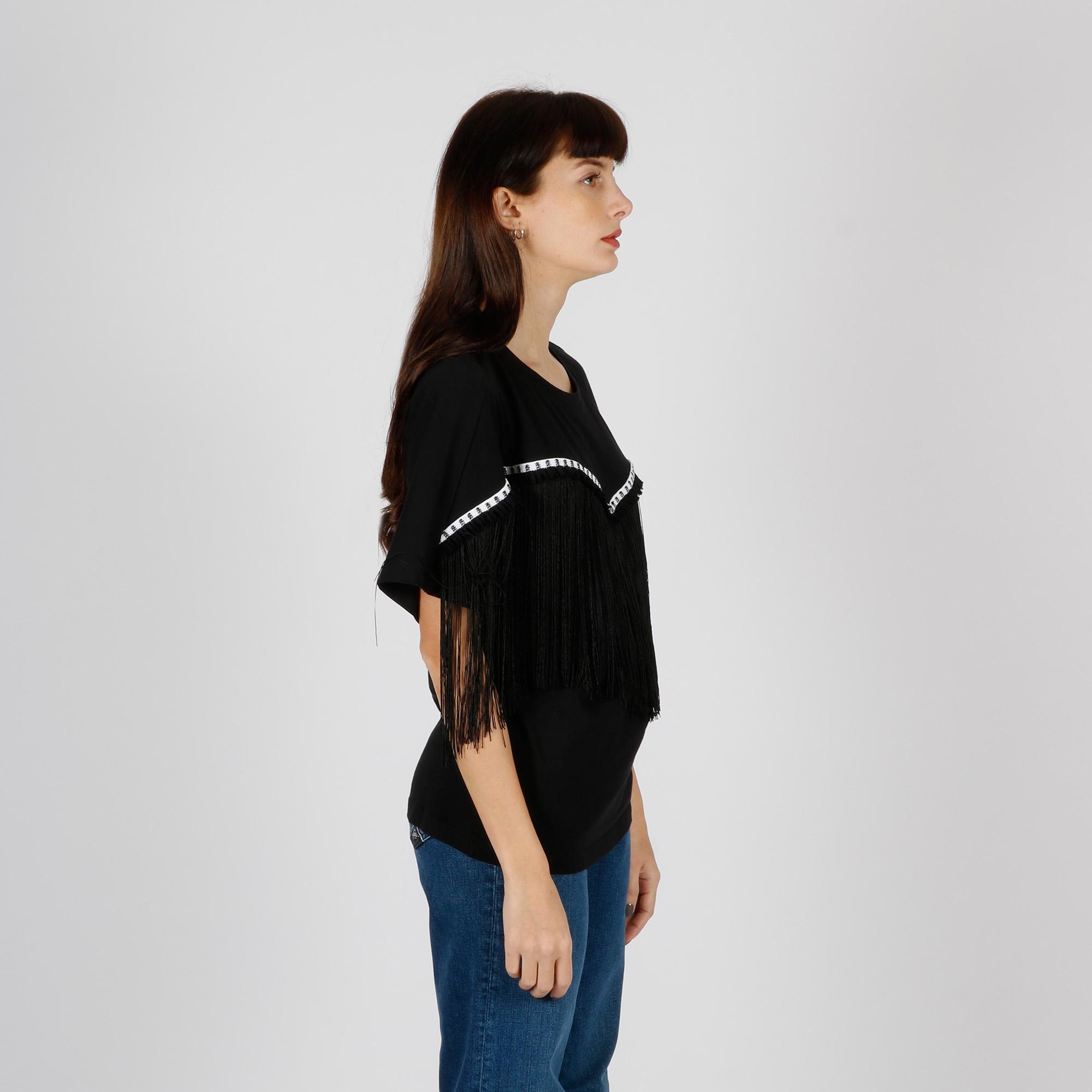 T-shirt frange - Nero