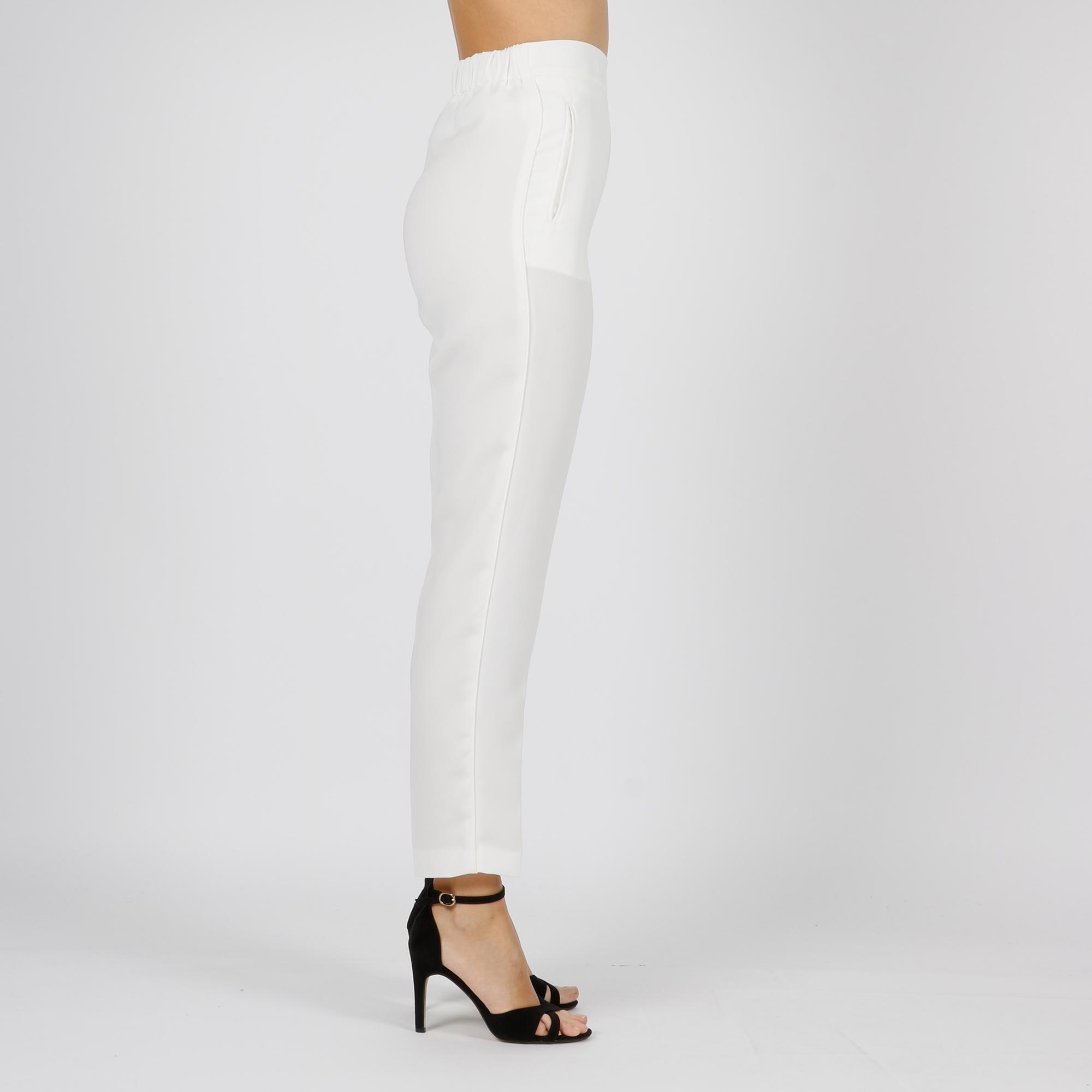 Pantalone morbido in georgette - Neve