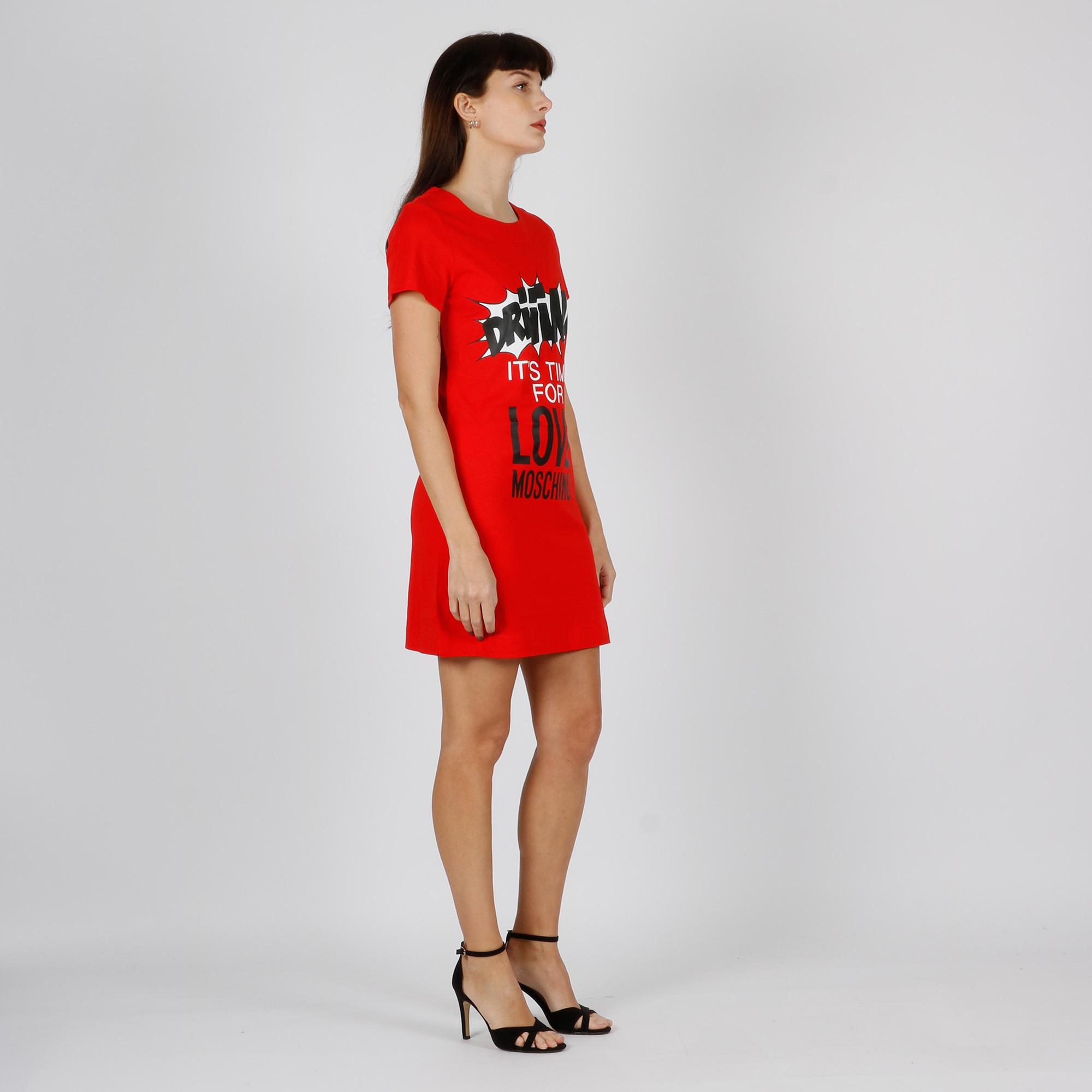 abito maglia stampa slogan - Rosso