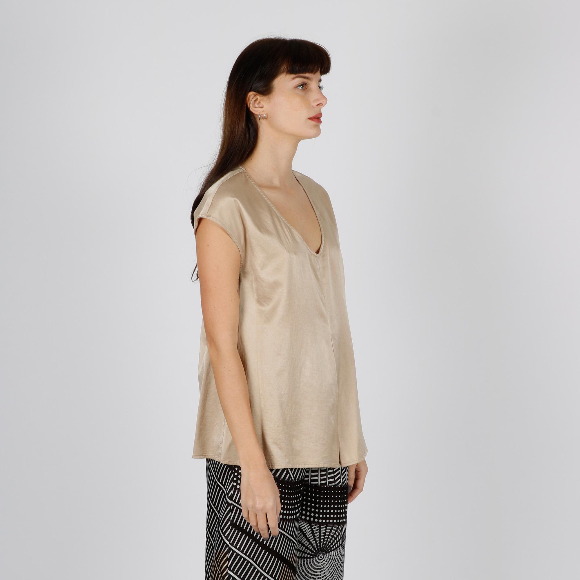 Blusa in seta - Beige