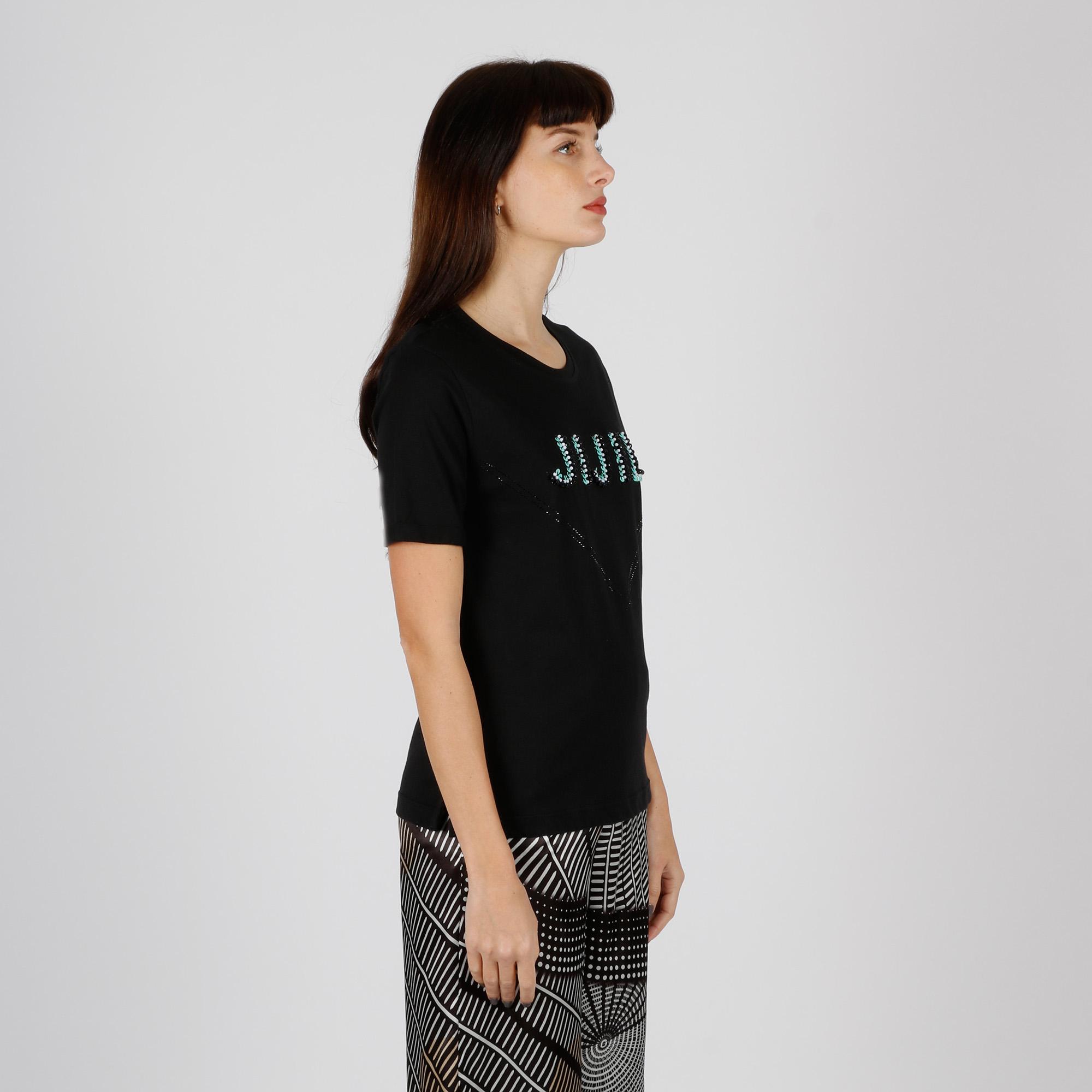 T-shirt logo perline - Nero