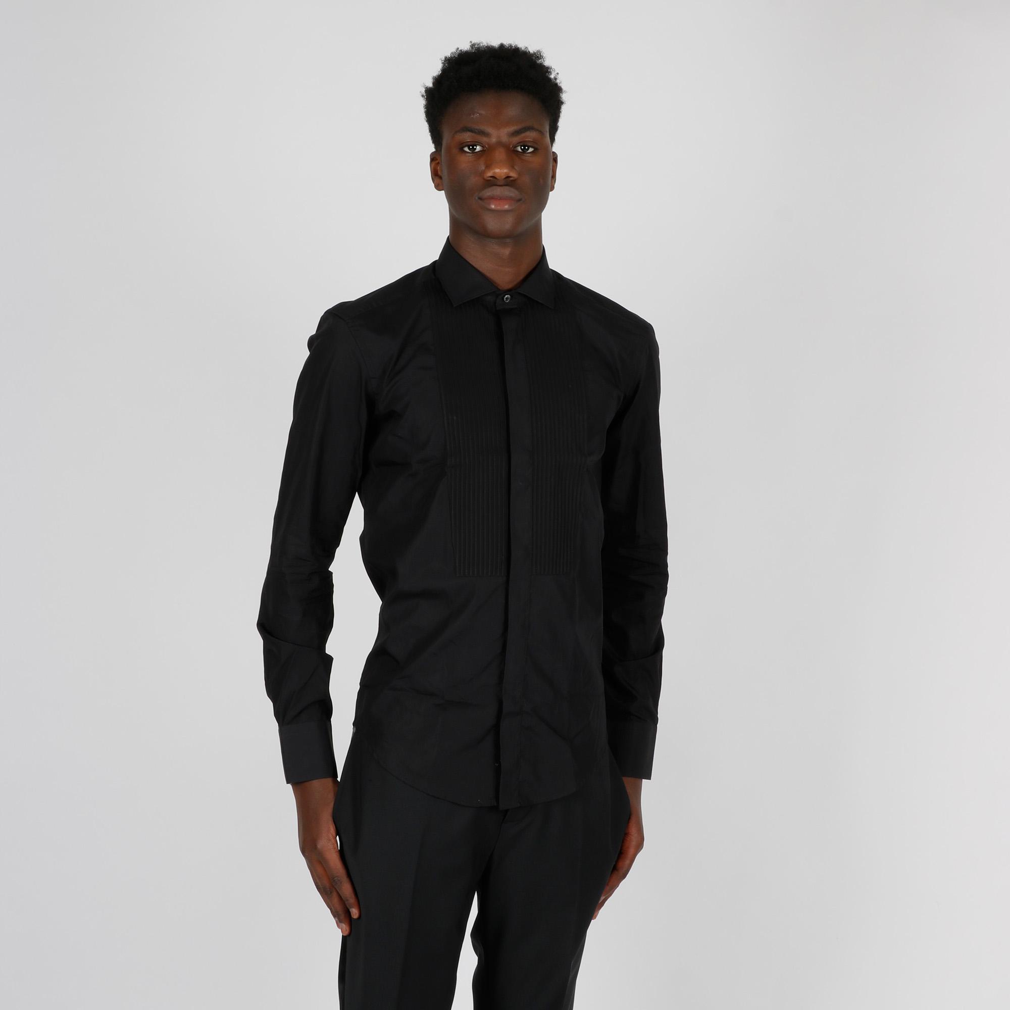 Camicia davantino lavorato - Nero