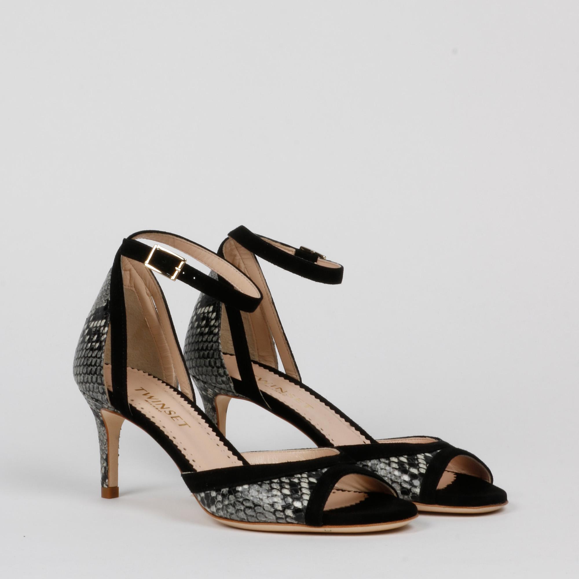 Sandalo pitone - Nero