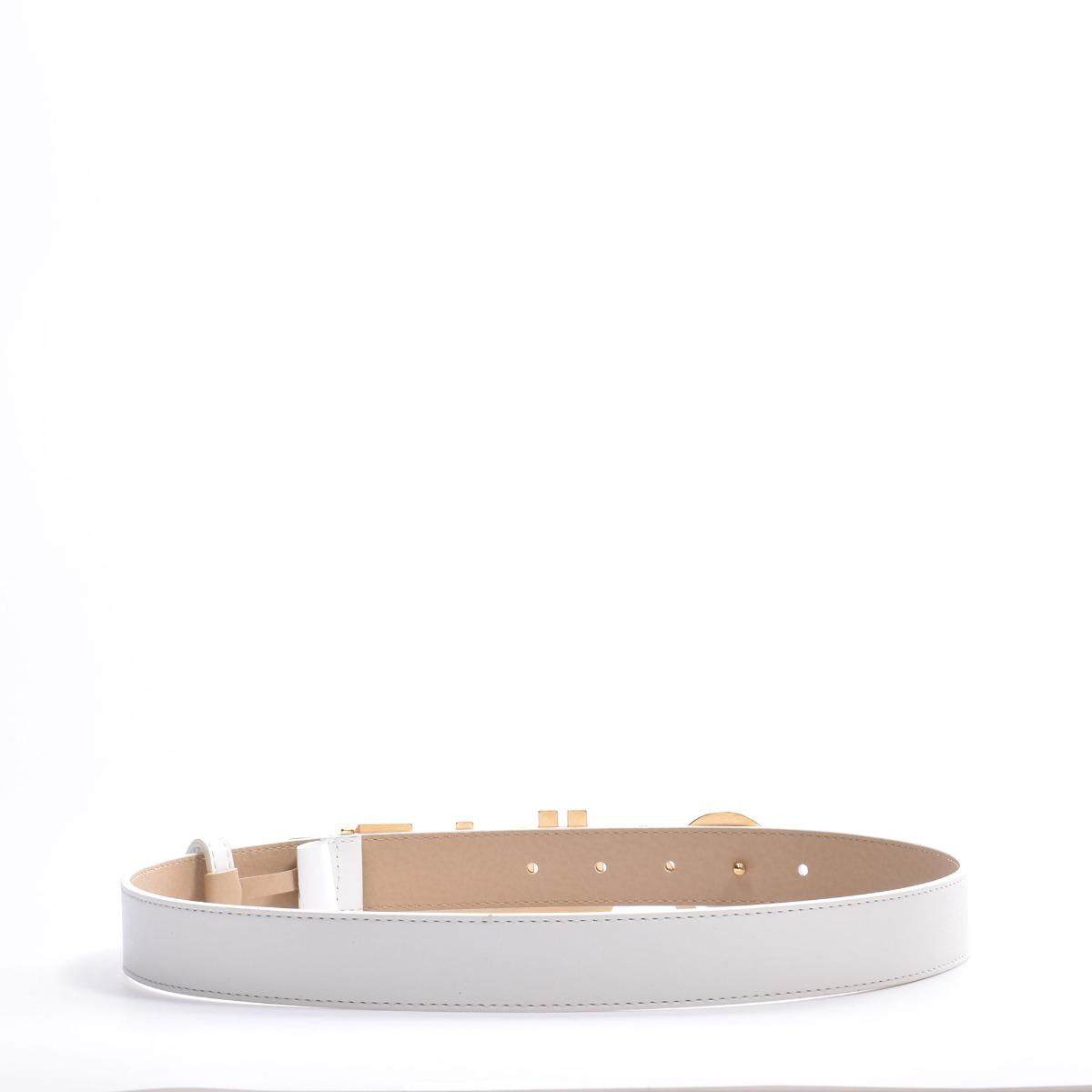 Cintura logo oro - Bianco