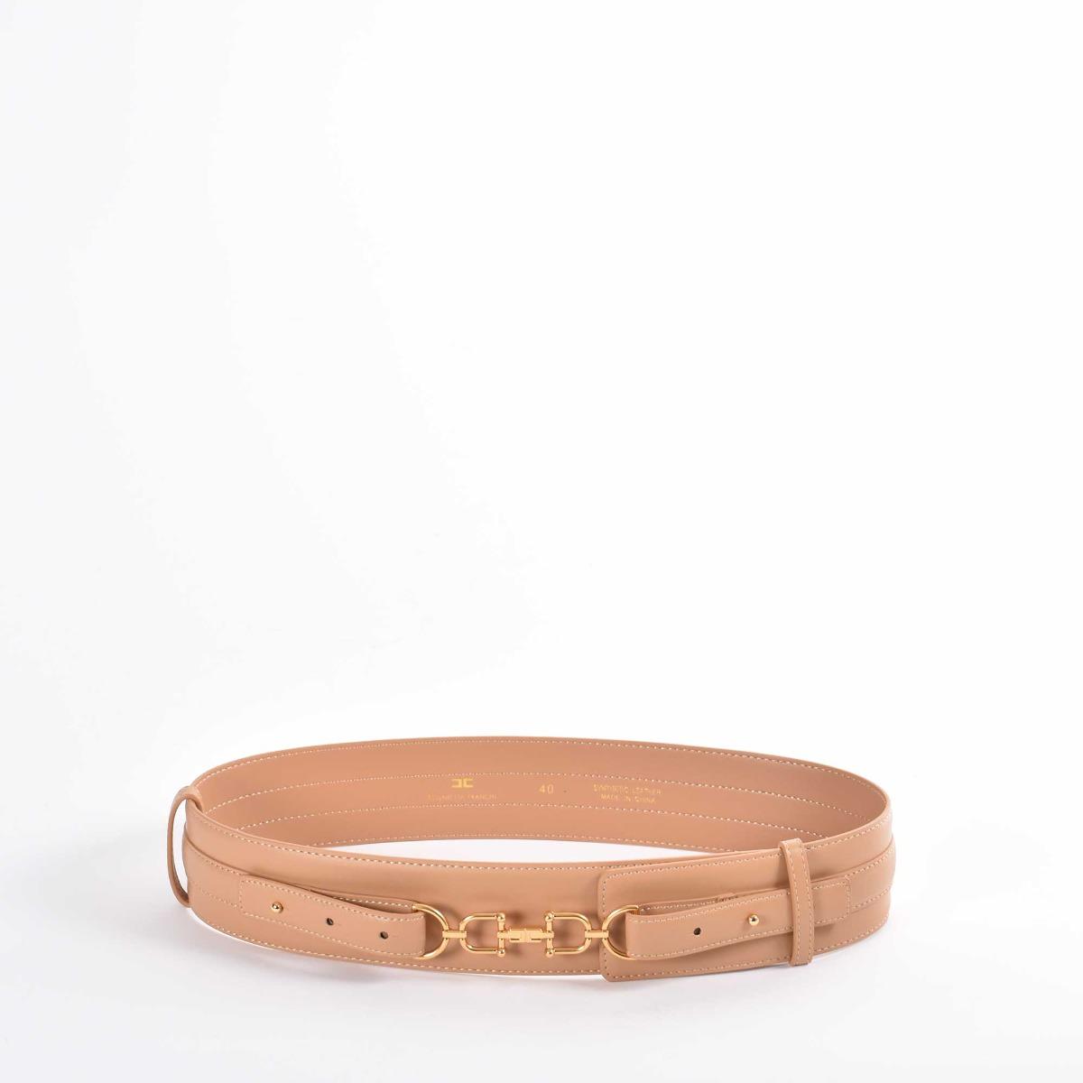 Cintura vita alta morsetto - Cammello