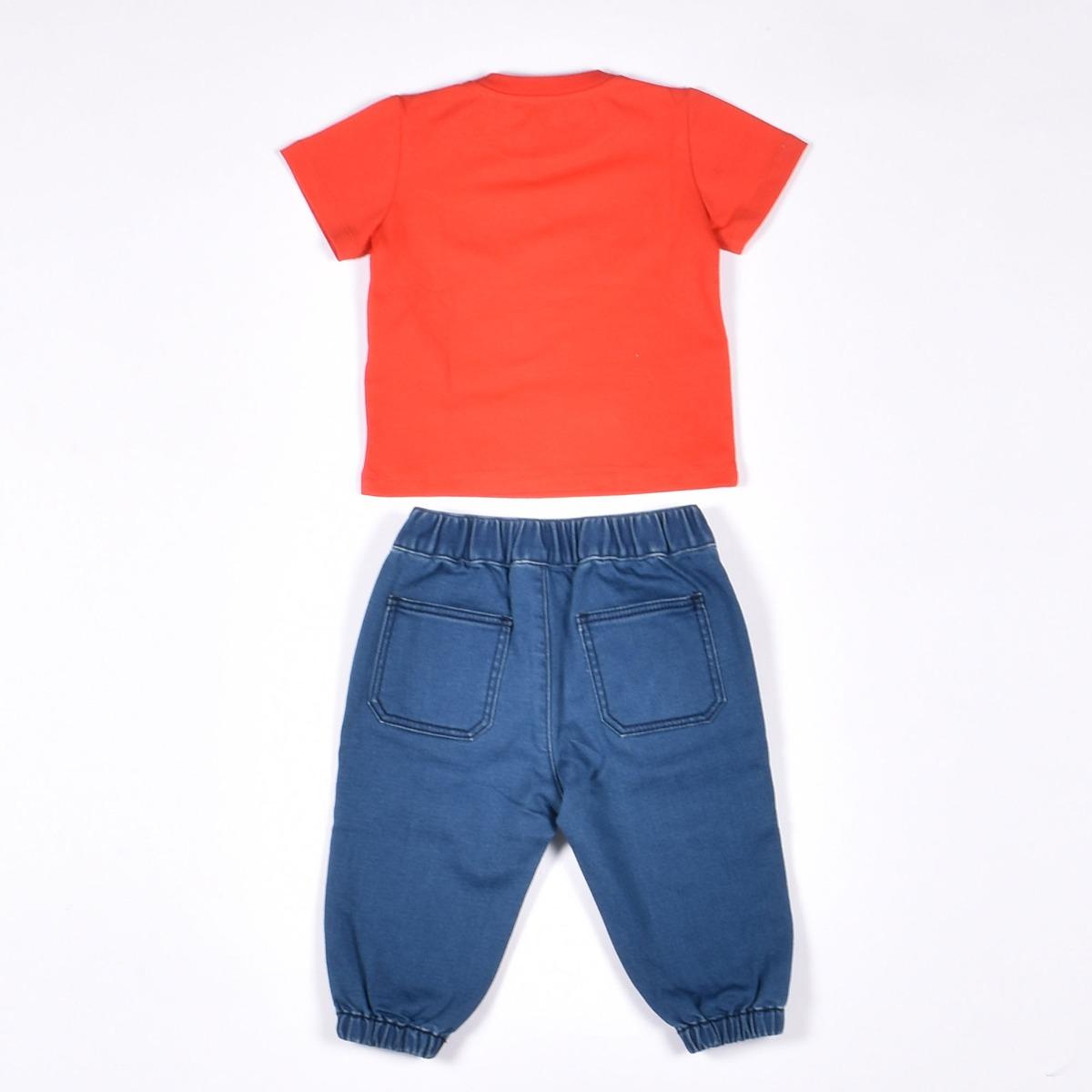 Completo jeans e t-shirt- Denim / Rosso