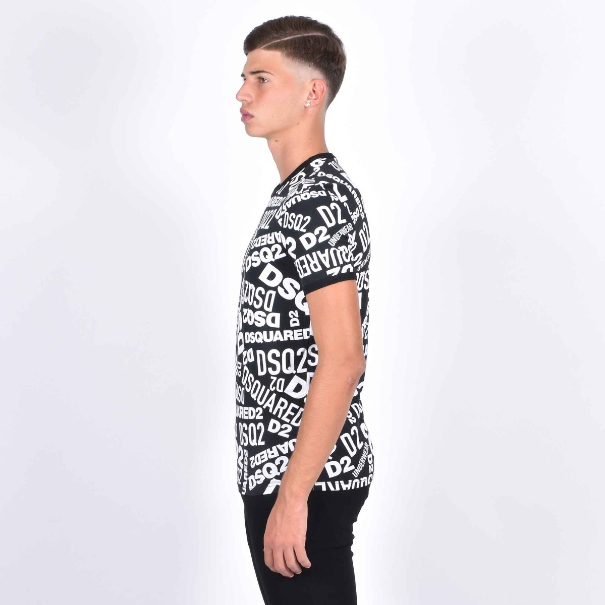 Coordinato t-shirt e boxer logo - Nero/bianco