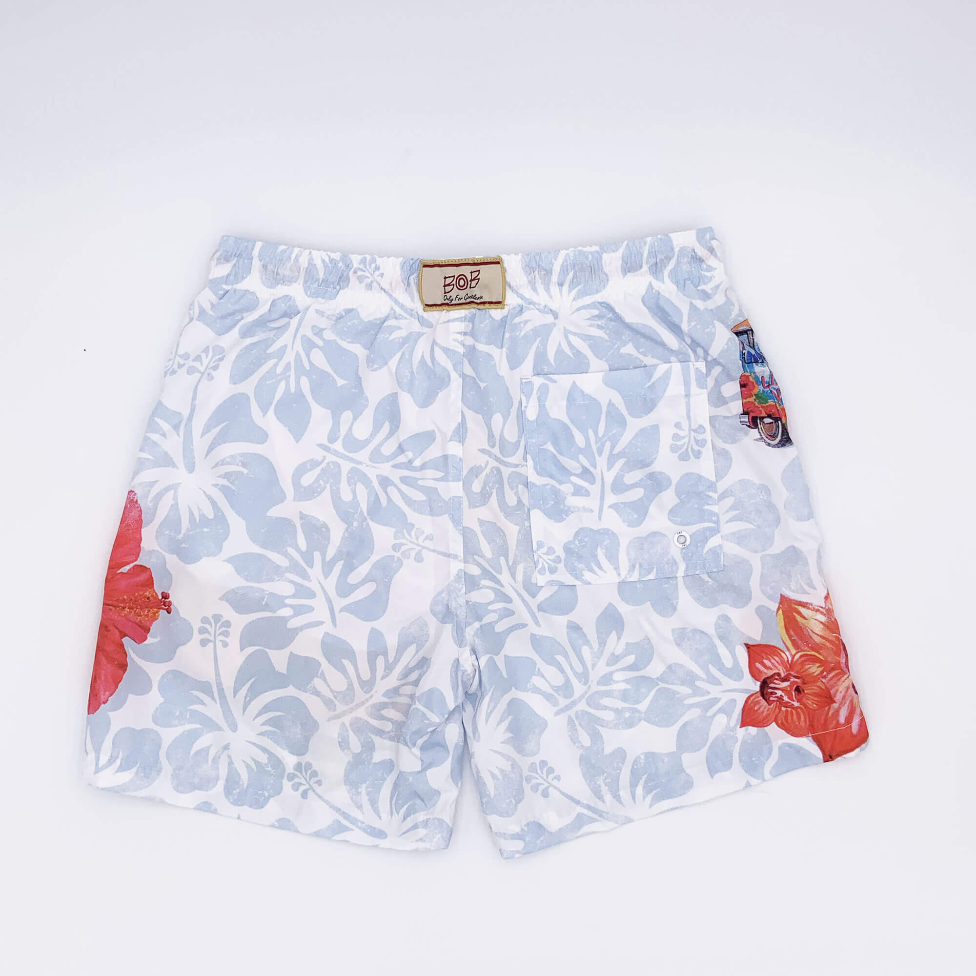 Costume boxer stampa tropical - Bianco