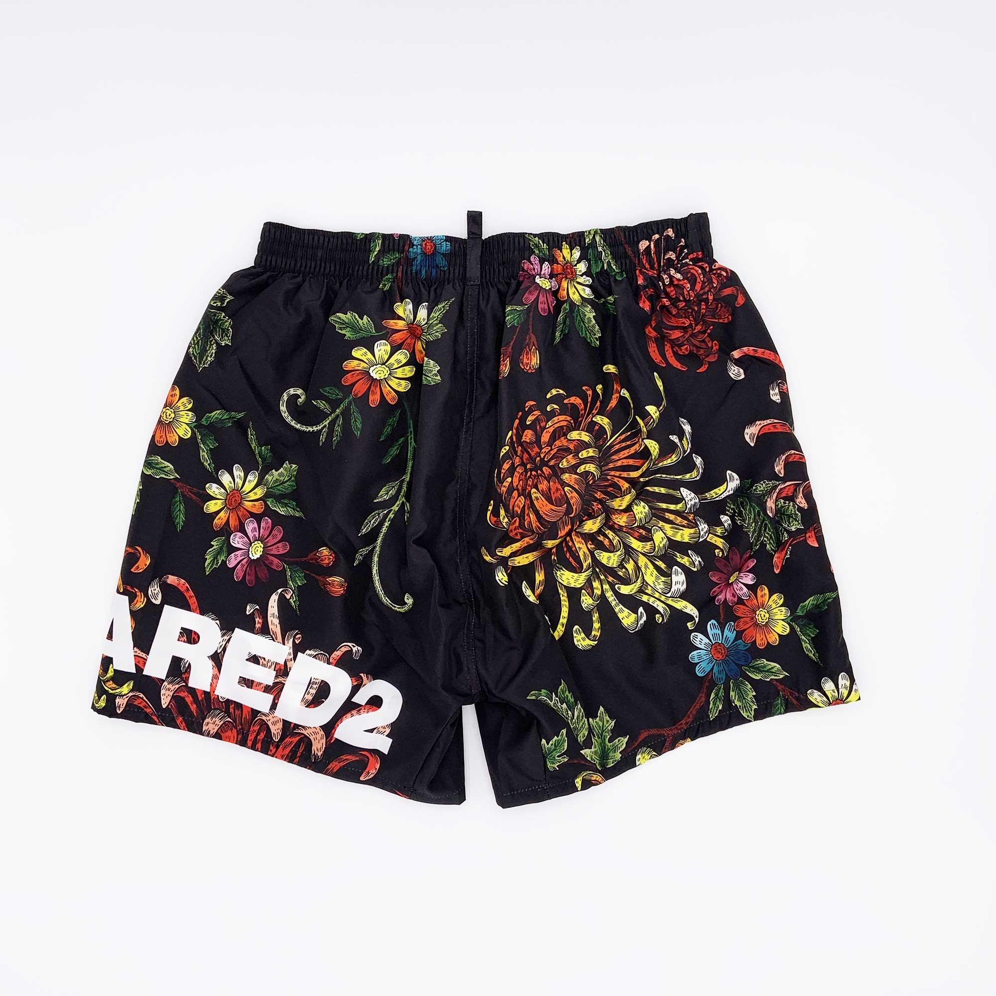 Costume pantaloncino stampa floreale - Nero