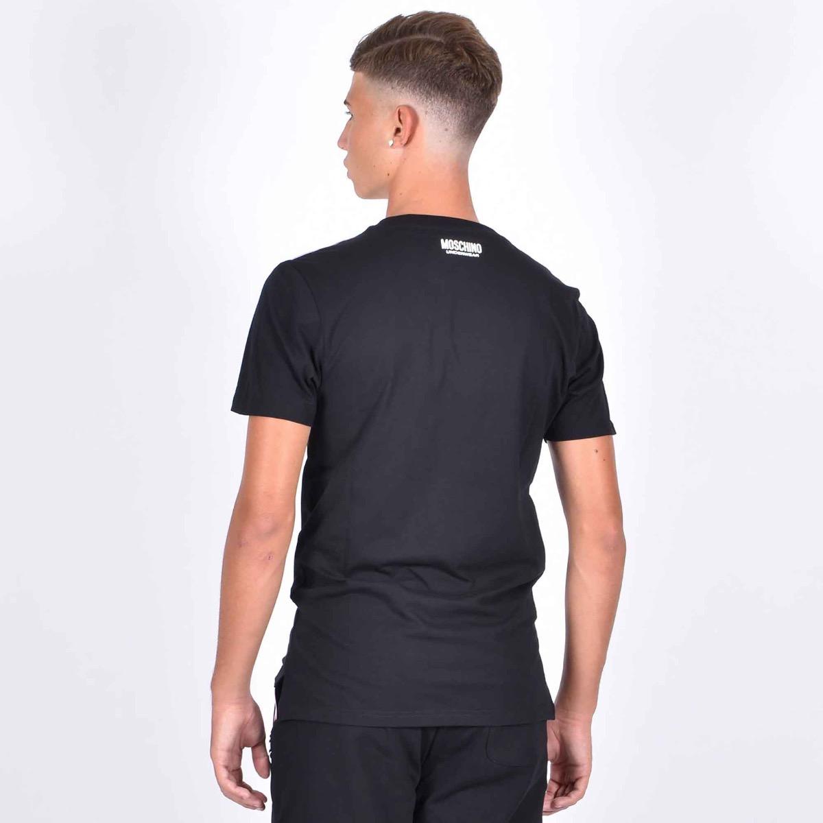 T-shirt banda spalle logata- Nero