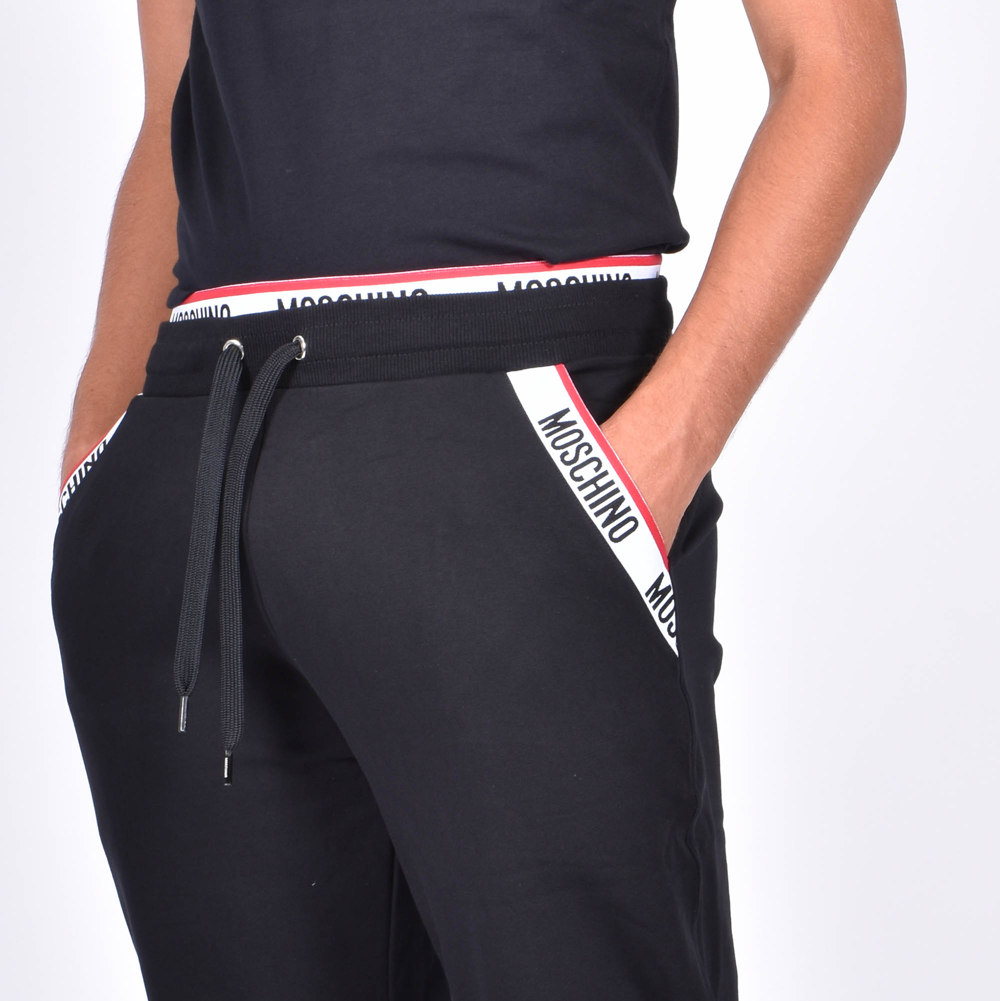 Pantalone felpa fascia logata - Nero