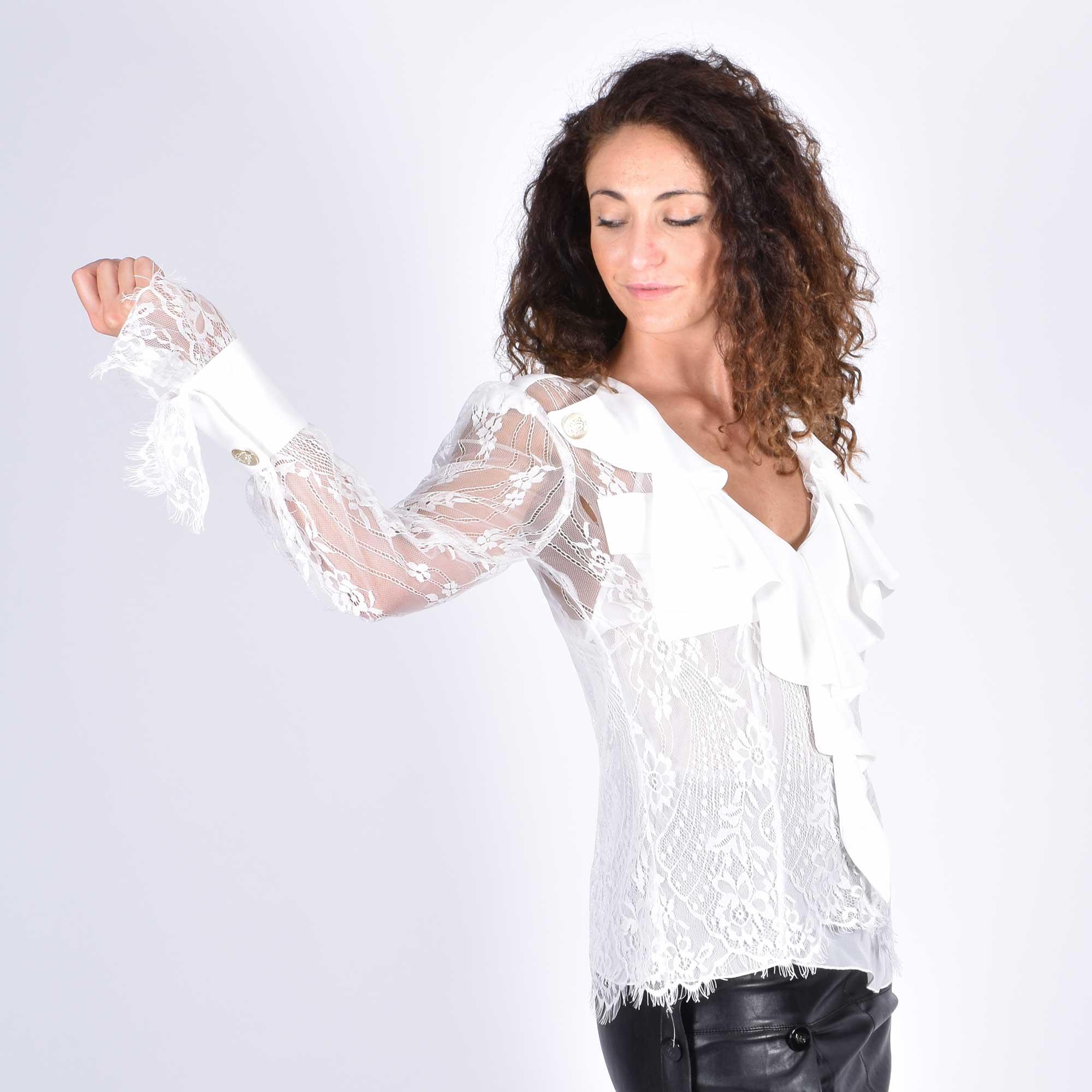 Camicia in pizzo con rouches - Bianco