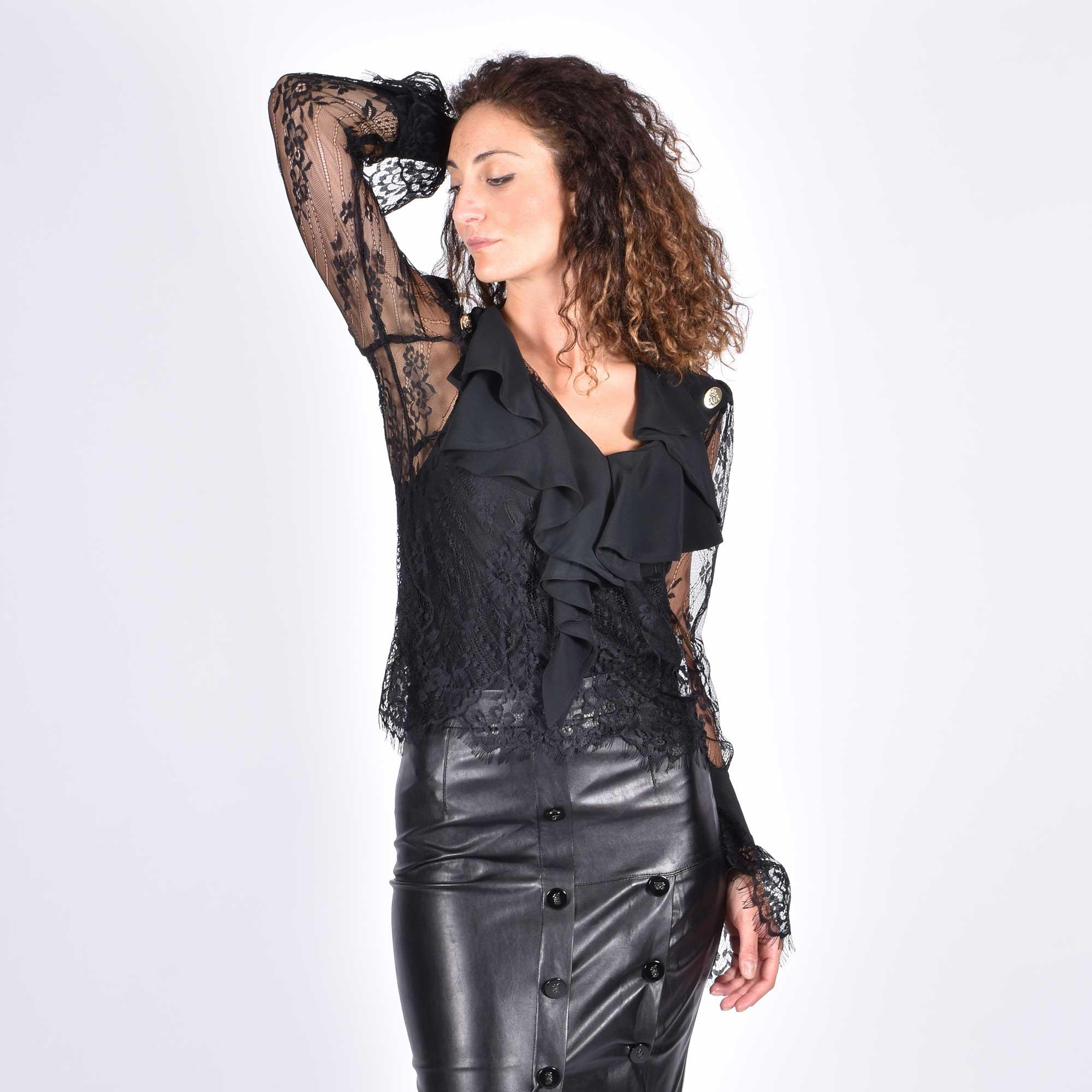 Camicia in pizzo con rouches - Nero