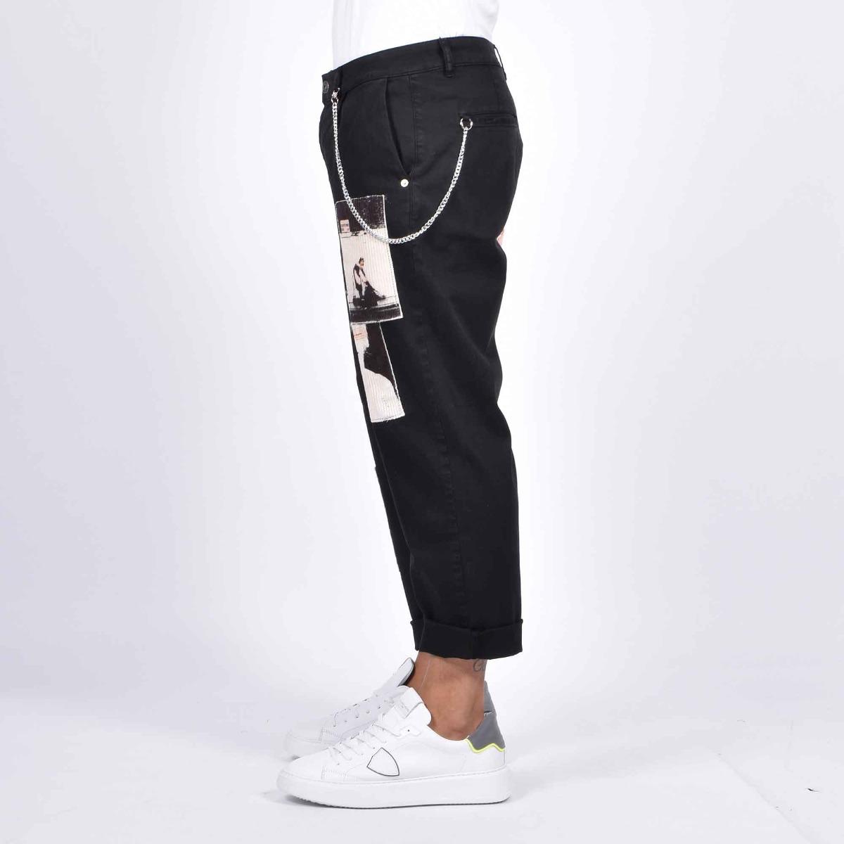 Jeans stampa woman e catena - Denim nero