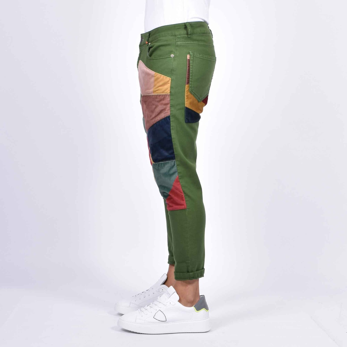 Jeans toppe velluto multicolor - Denim verde