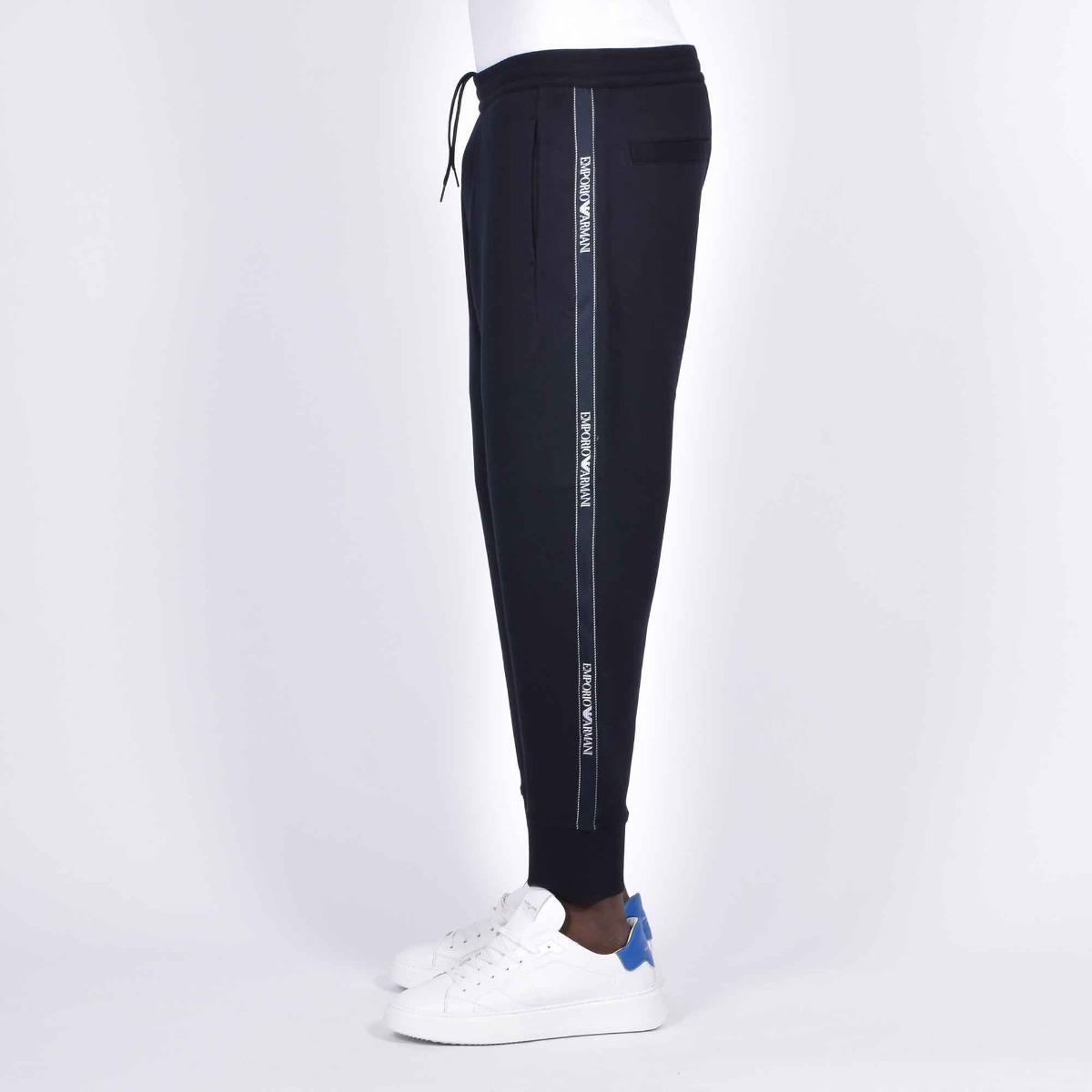 Pantalone tuta logo laterale- Blu