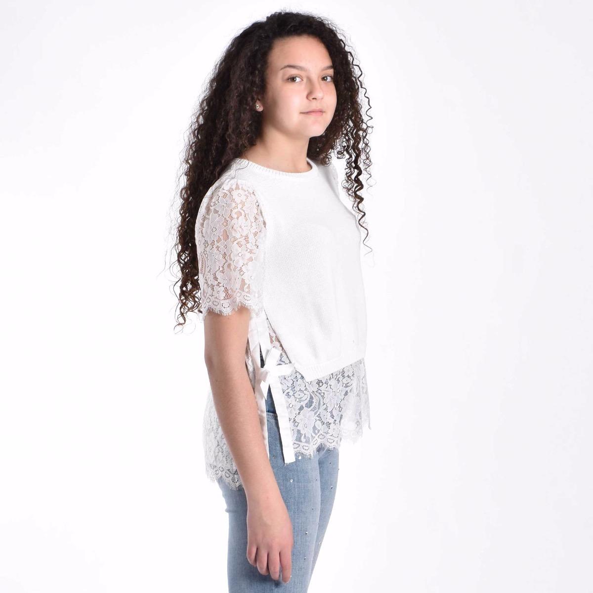 T-shirt con intarsi in pizzo - Bianco