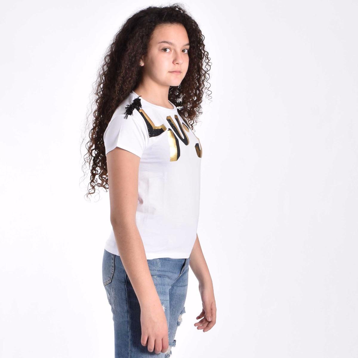 T-shirt con stampa logo - Bianco