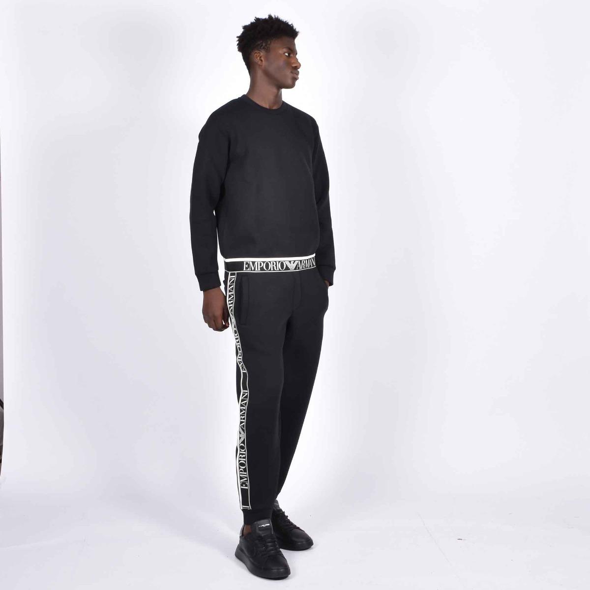 Pantalone neoprene banda logata - Nero