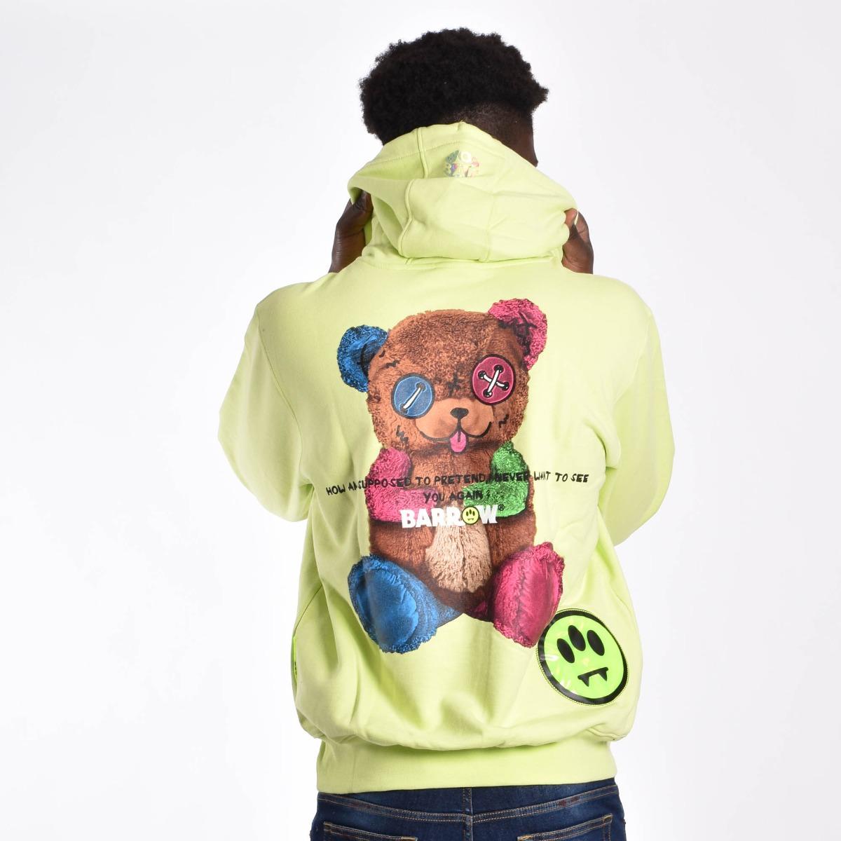 Felpa cappuccio orso - Lime fluo