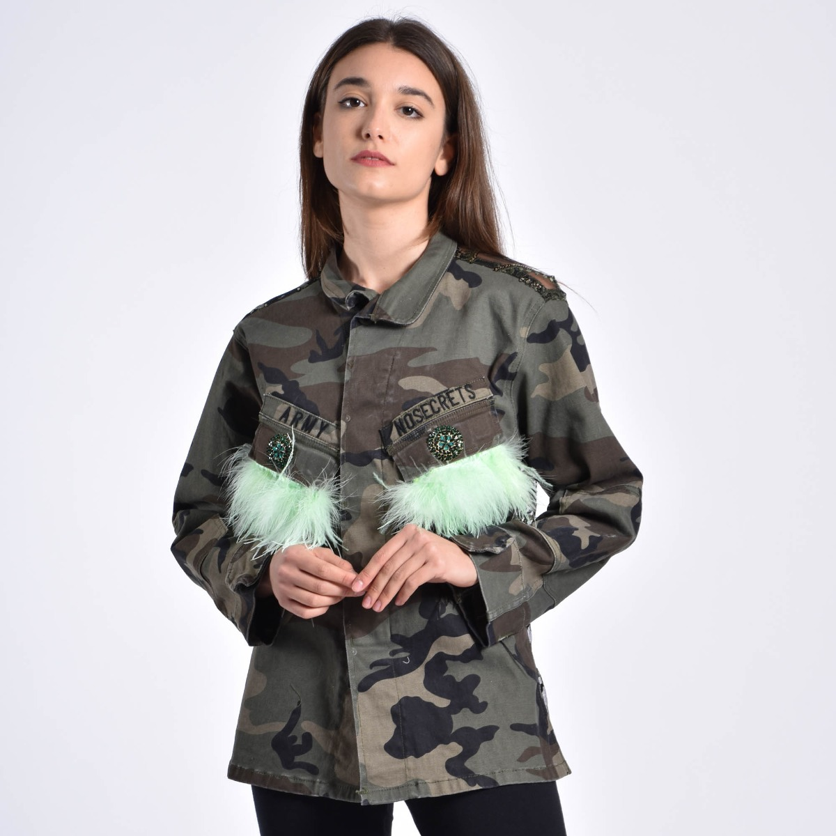 Giacca ricamo e piume- Camouflage