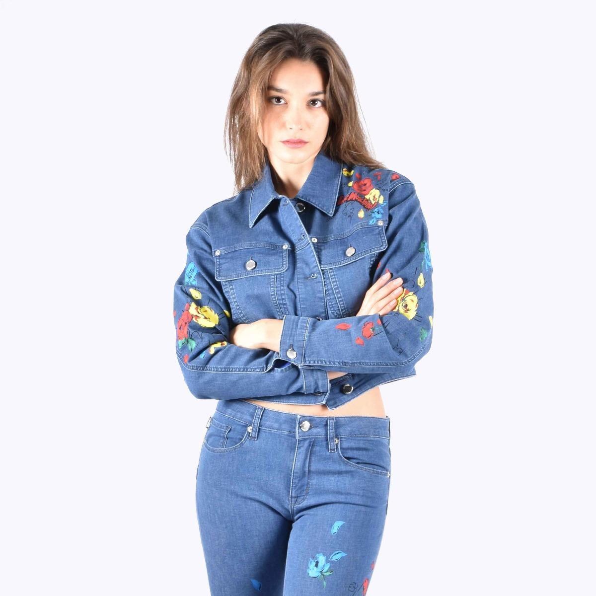 Giubbino jeans stampa fiori - Denim medio