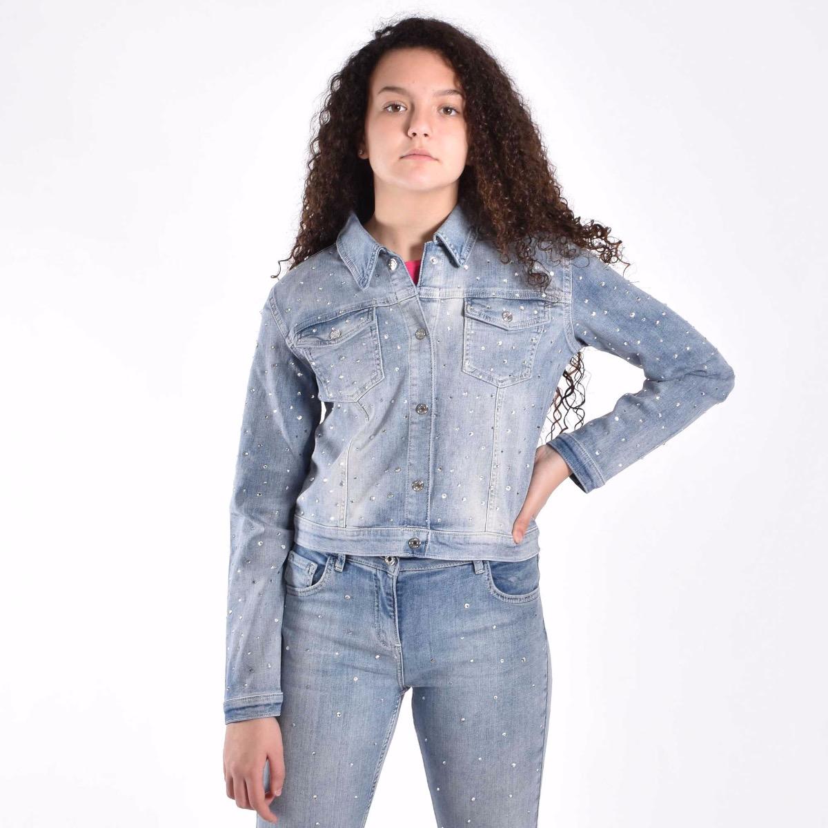 Giubbino in jeans con strass