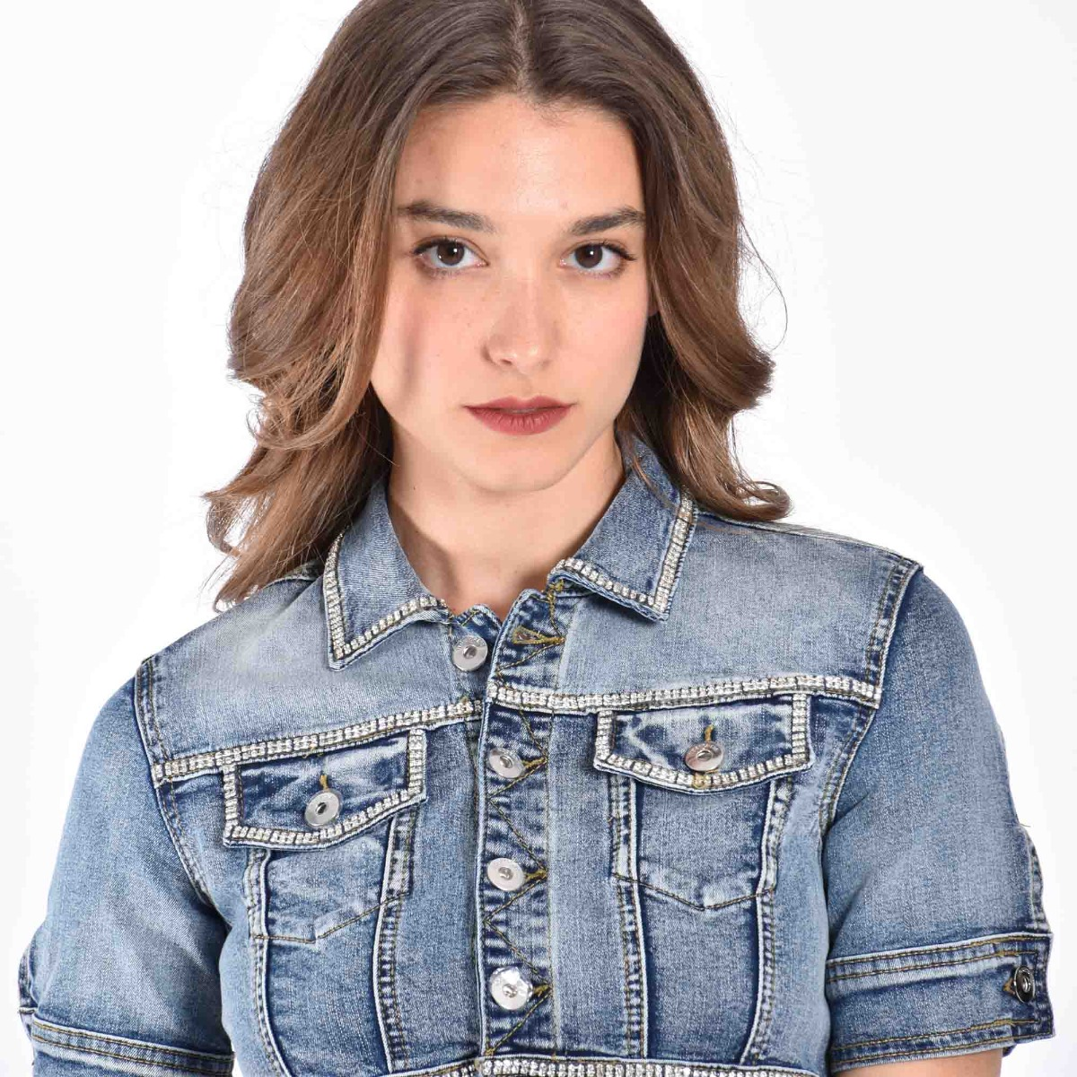 Giubbino jeans strass - Denim