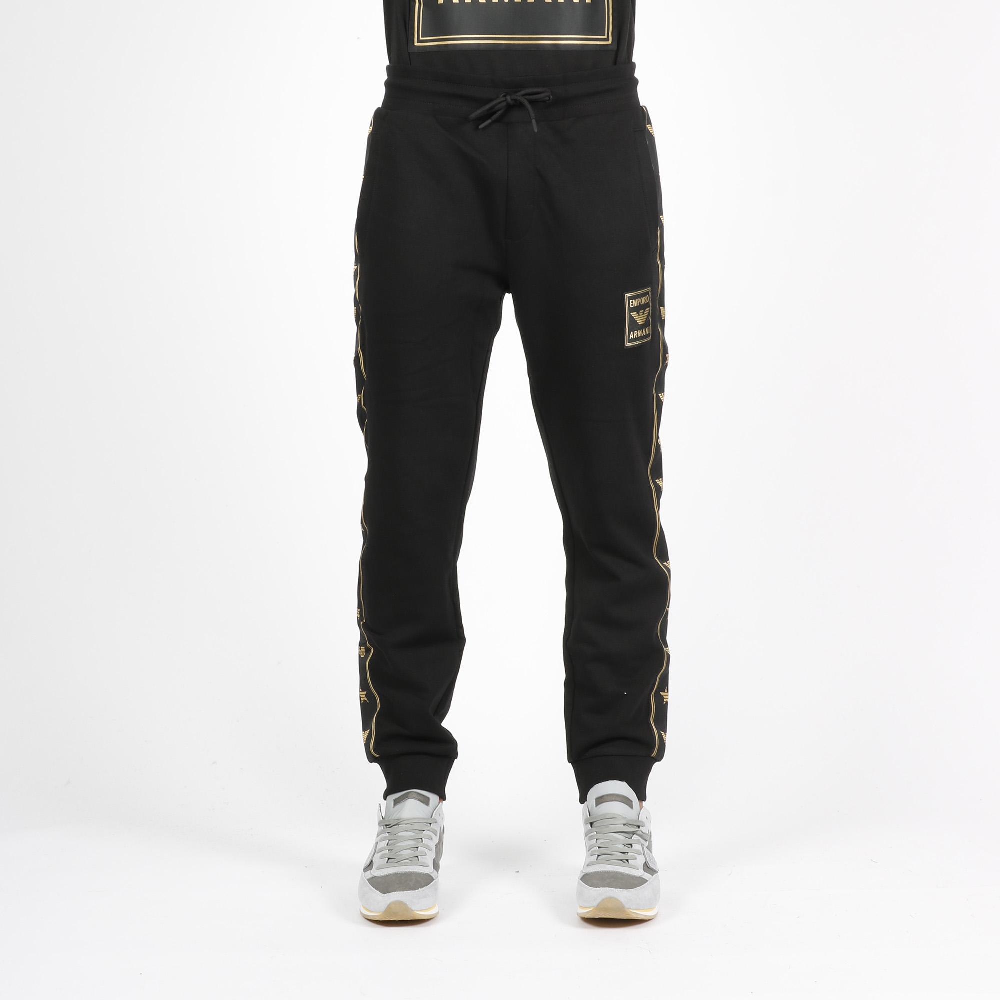 Pantalone tuta banda laterale logata - Nero/gold